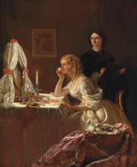 """The Toilet"", a lady seated at a toilet-table, and her maid - candlelight"