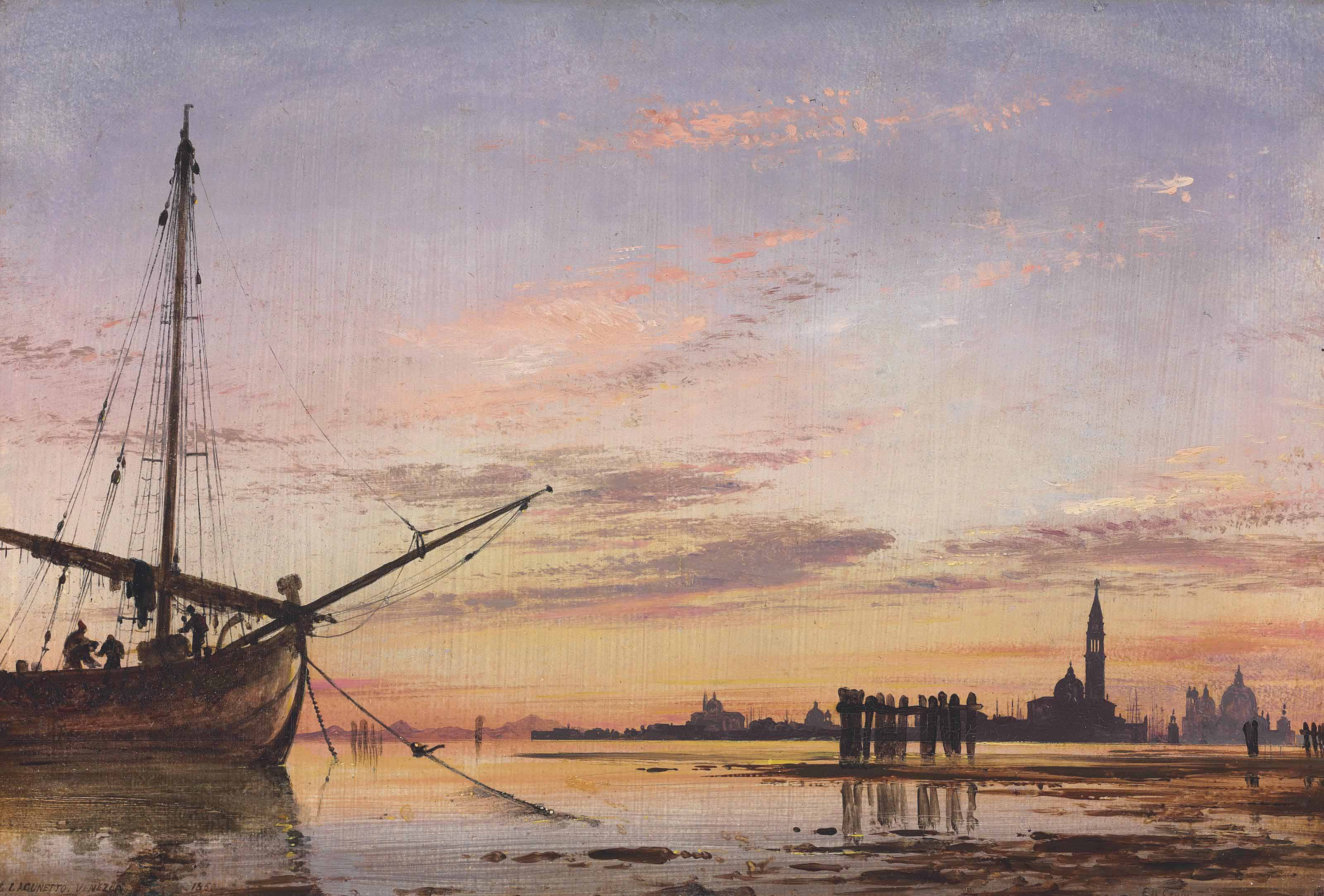 View across the Lagoon, Venice, sunset