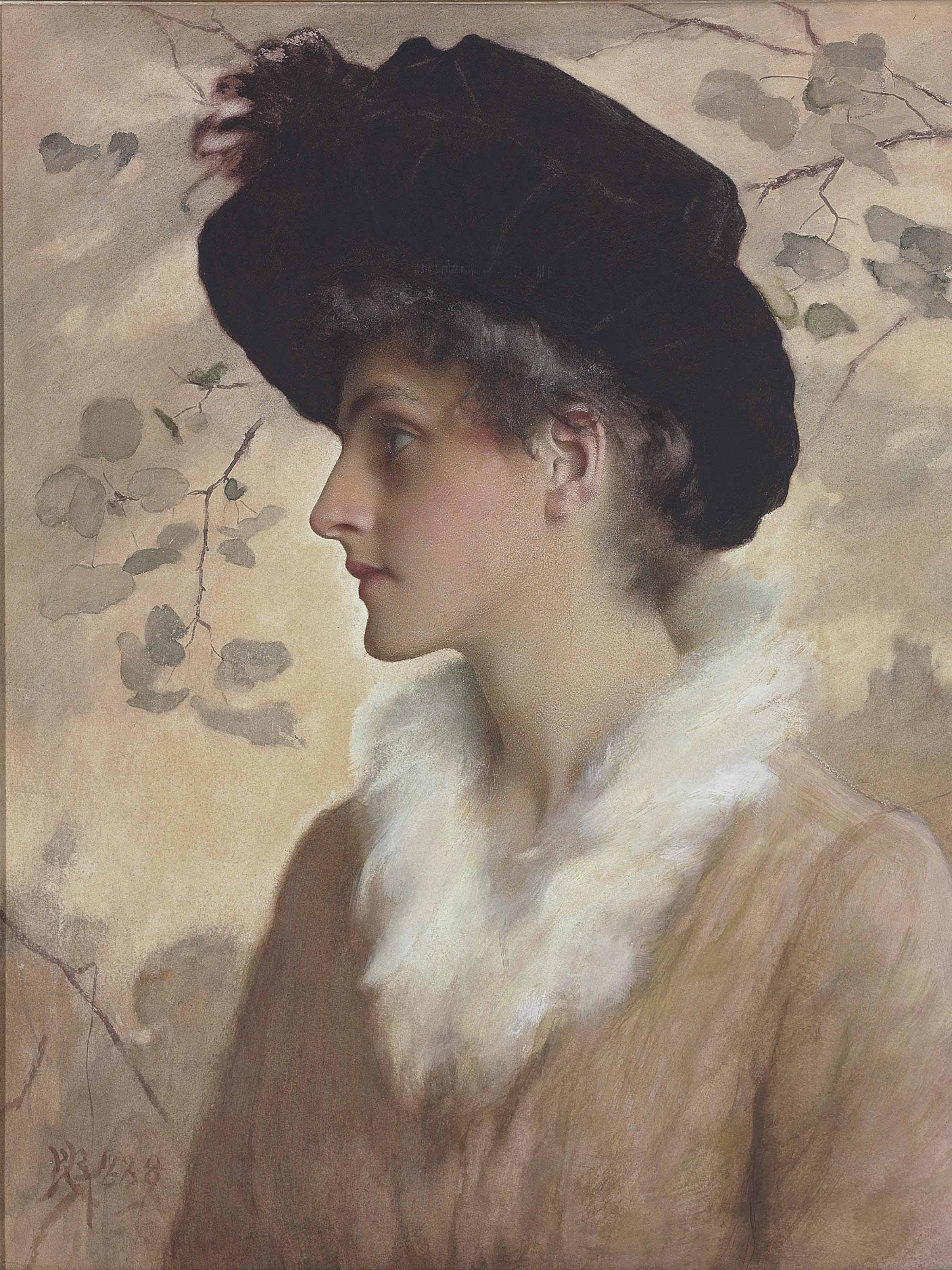 Portrait of a lady, half-length, wearing a black hat and fur stole