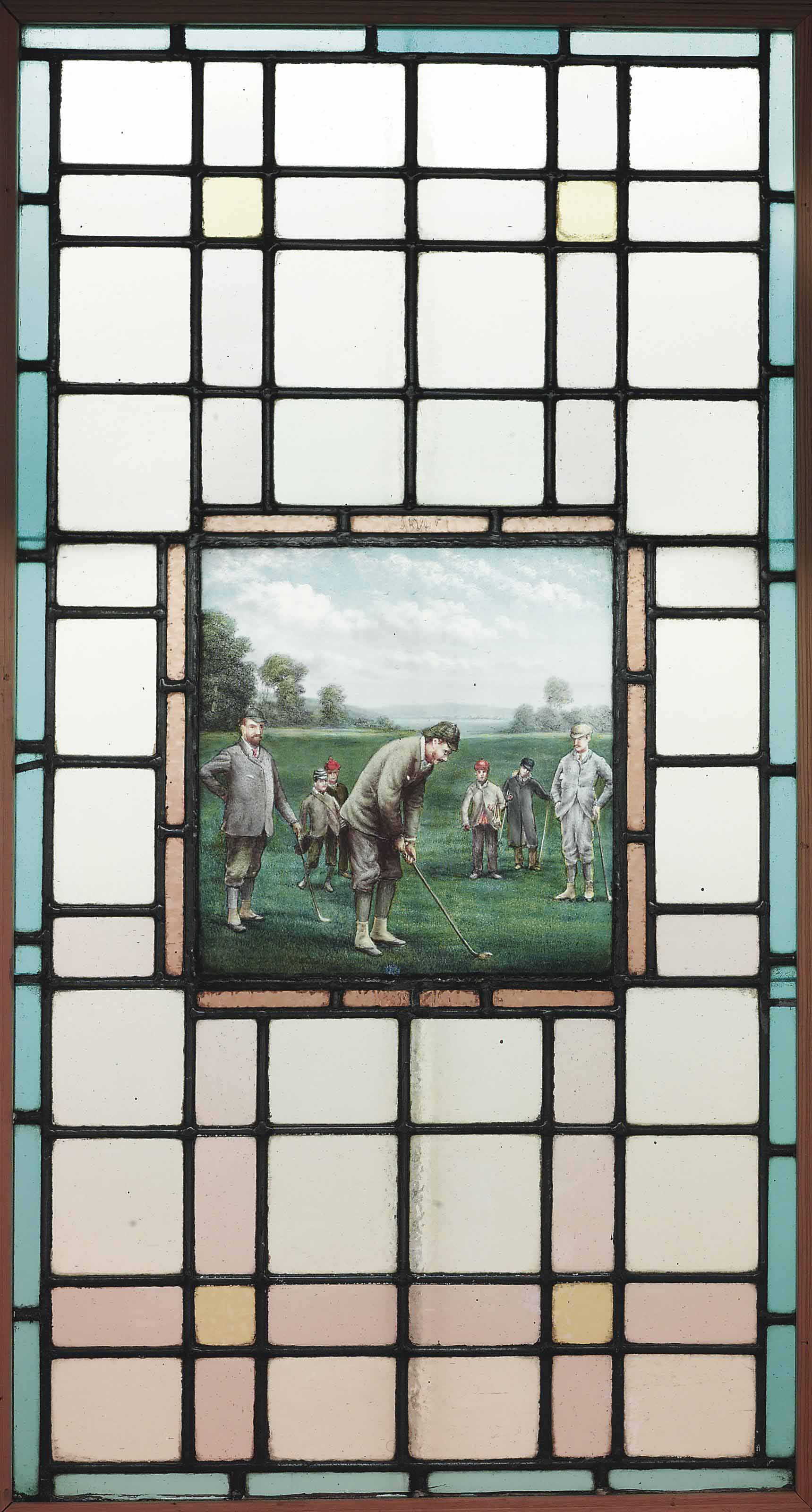 A LATE VICTORIAN LEADED GLASS