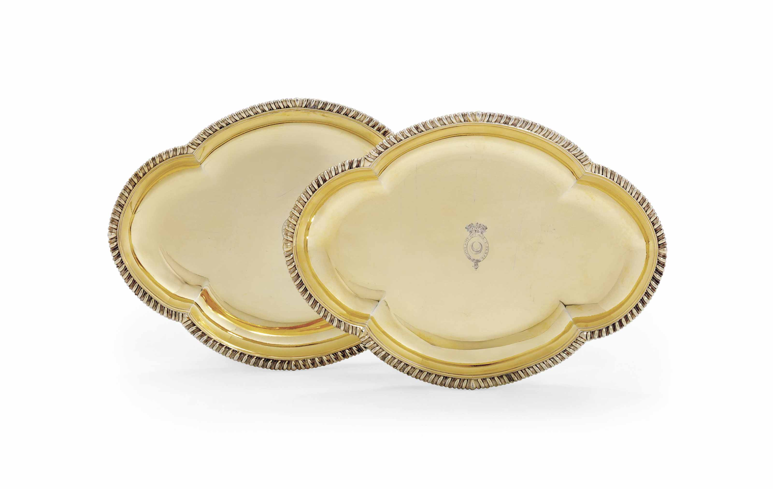 A PAIR OF GEORGE III SILVER-GILT DESSERT-DISHES FROM THE NORTHUMBERLAND DESSERT SERVICE