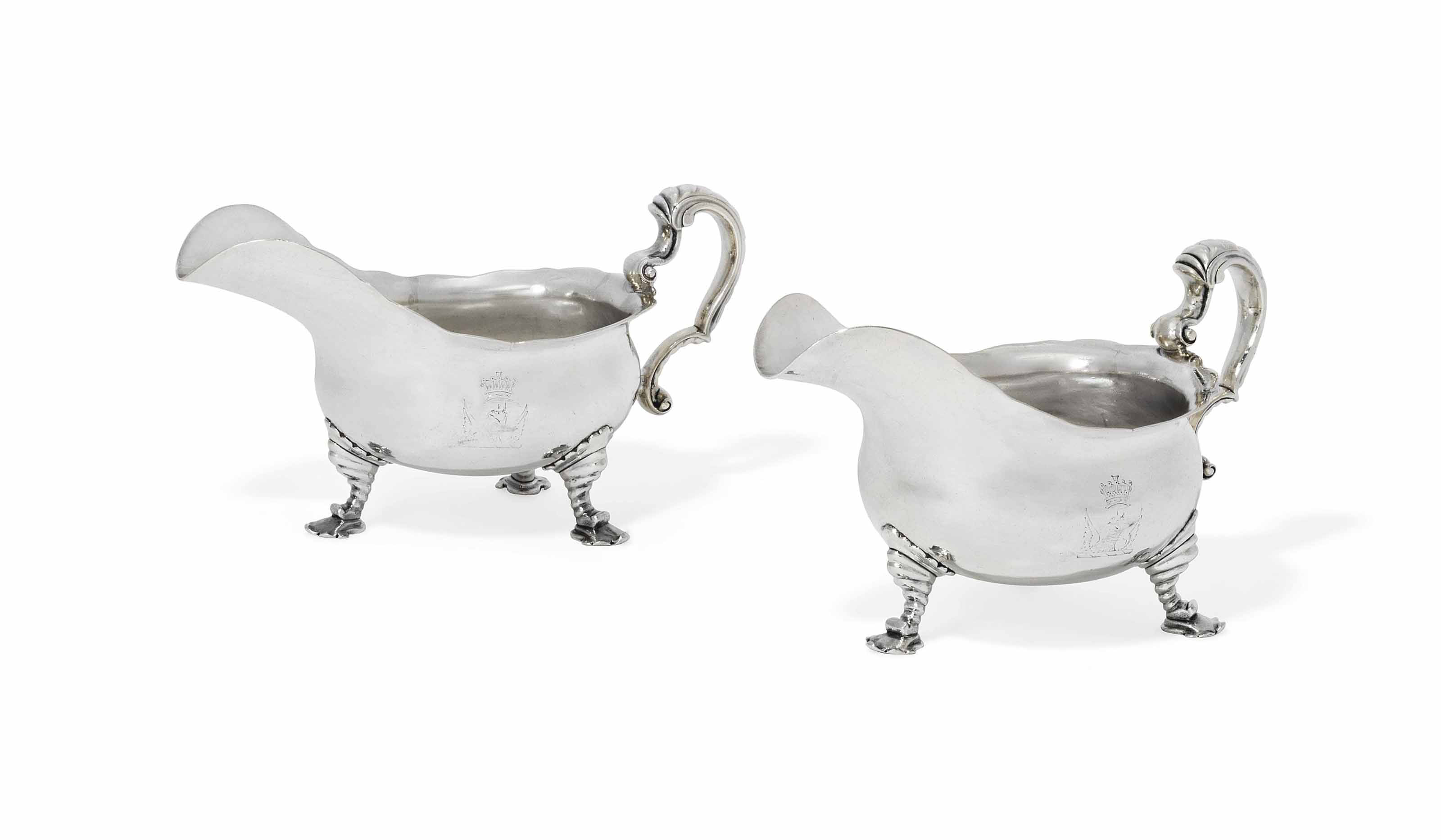 TWO GEORGE II SILVER SAUCEBOAT