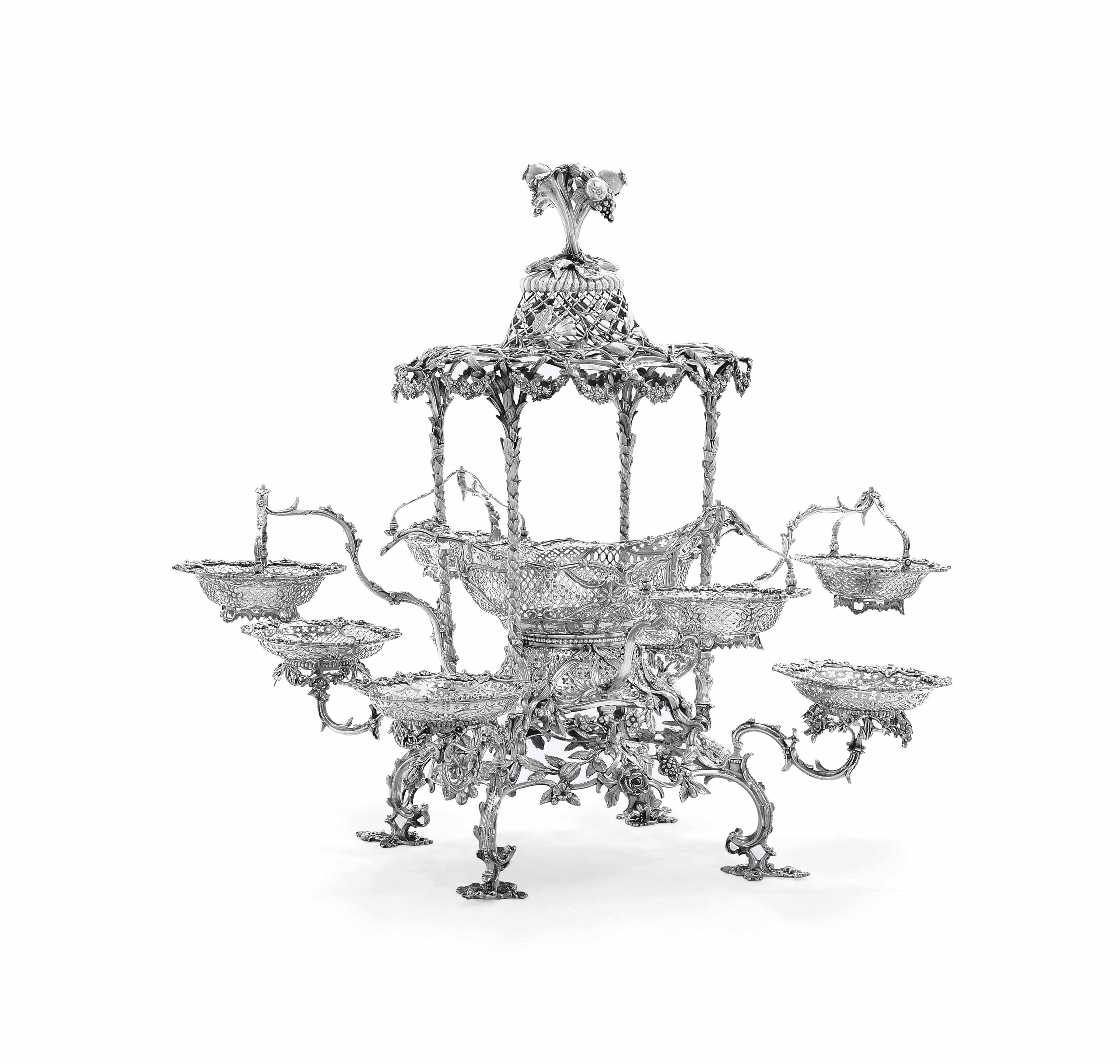 THE HAMPDEN EPERGNE A GEORGE III SILVER EPERGNE