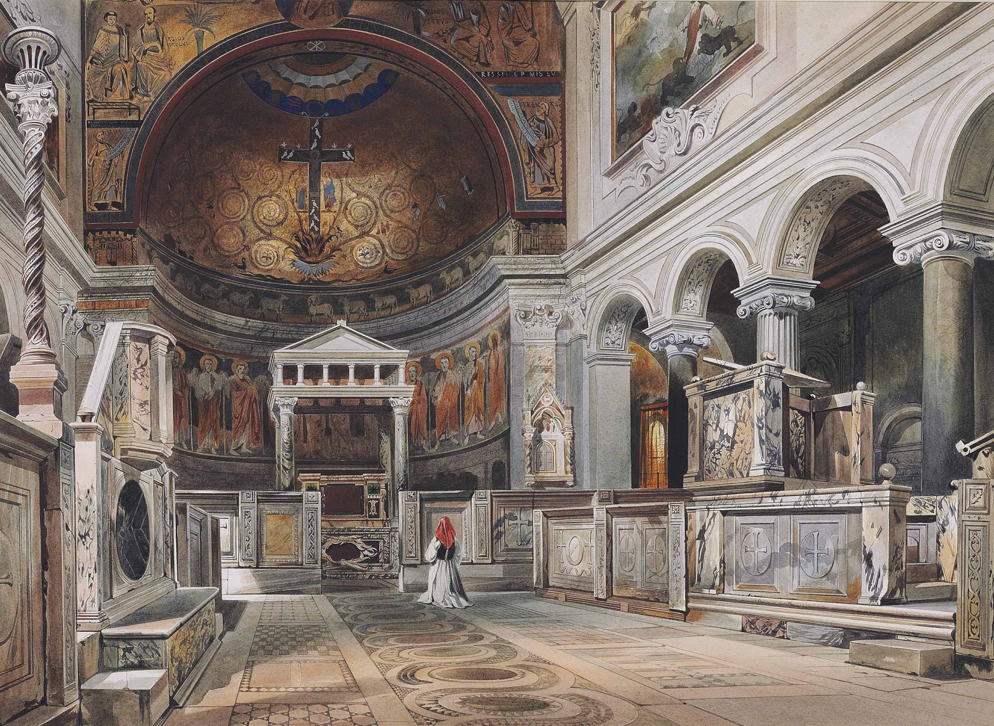The interior of the Church of San Clemente, Rome