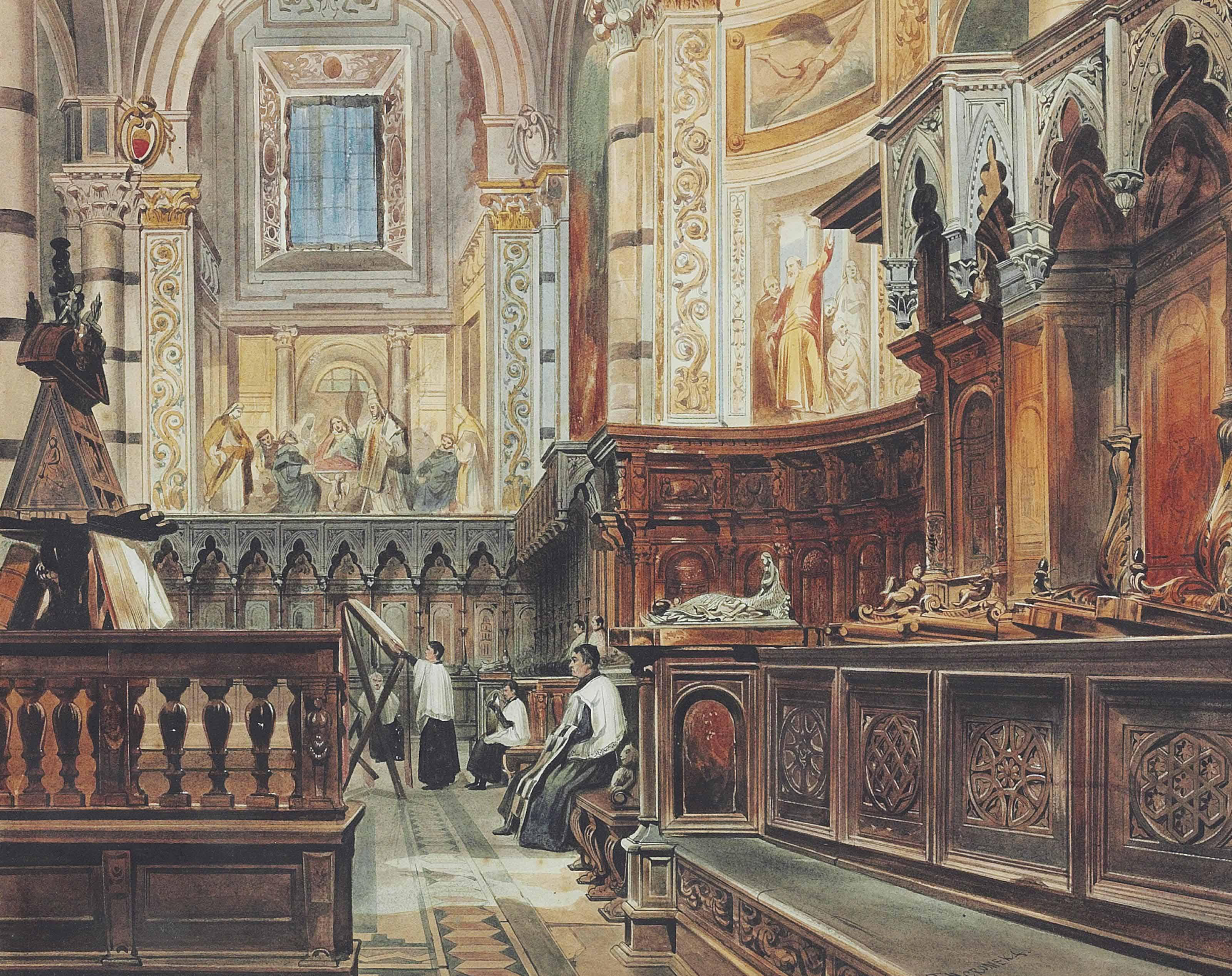 The interior of a church