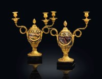 A PAIR OF ORMOLU-MOUNTED BLUEJOHN CANDELABRA
