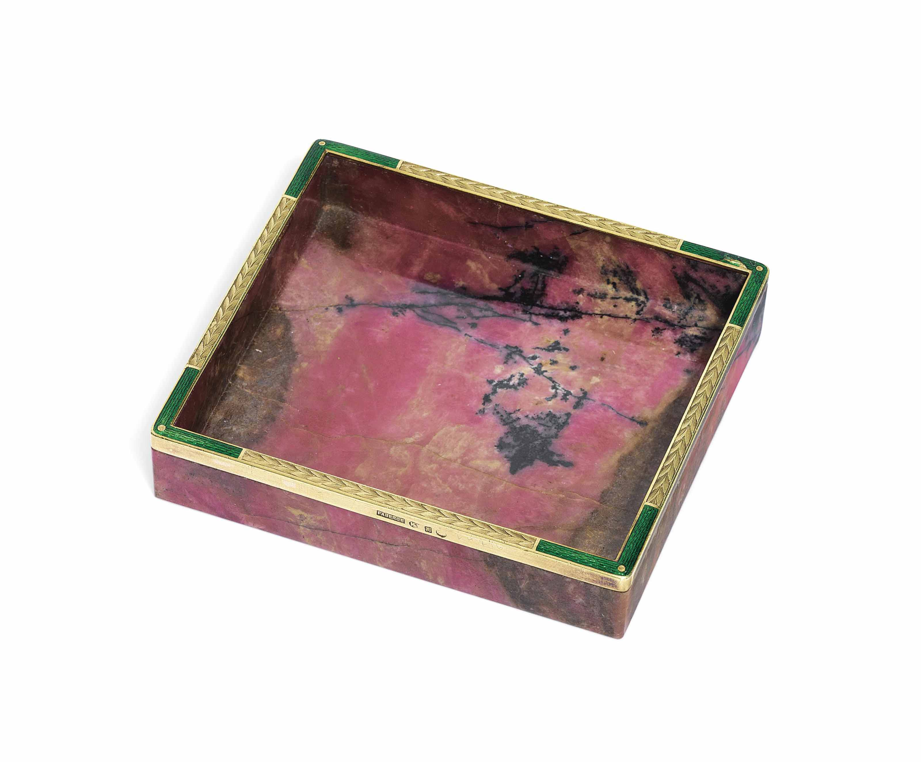 A GOLD-MOUNTED RHODONITE AND GUILLOCHÉ ENAMEL DISH
