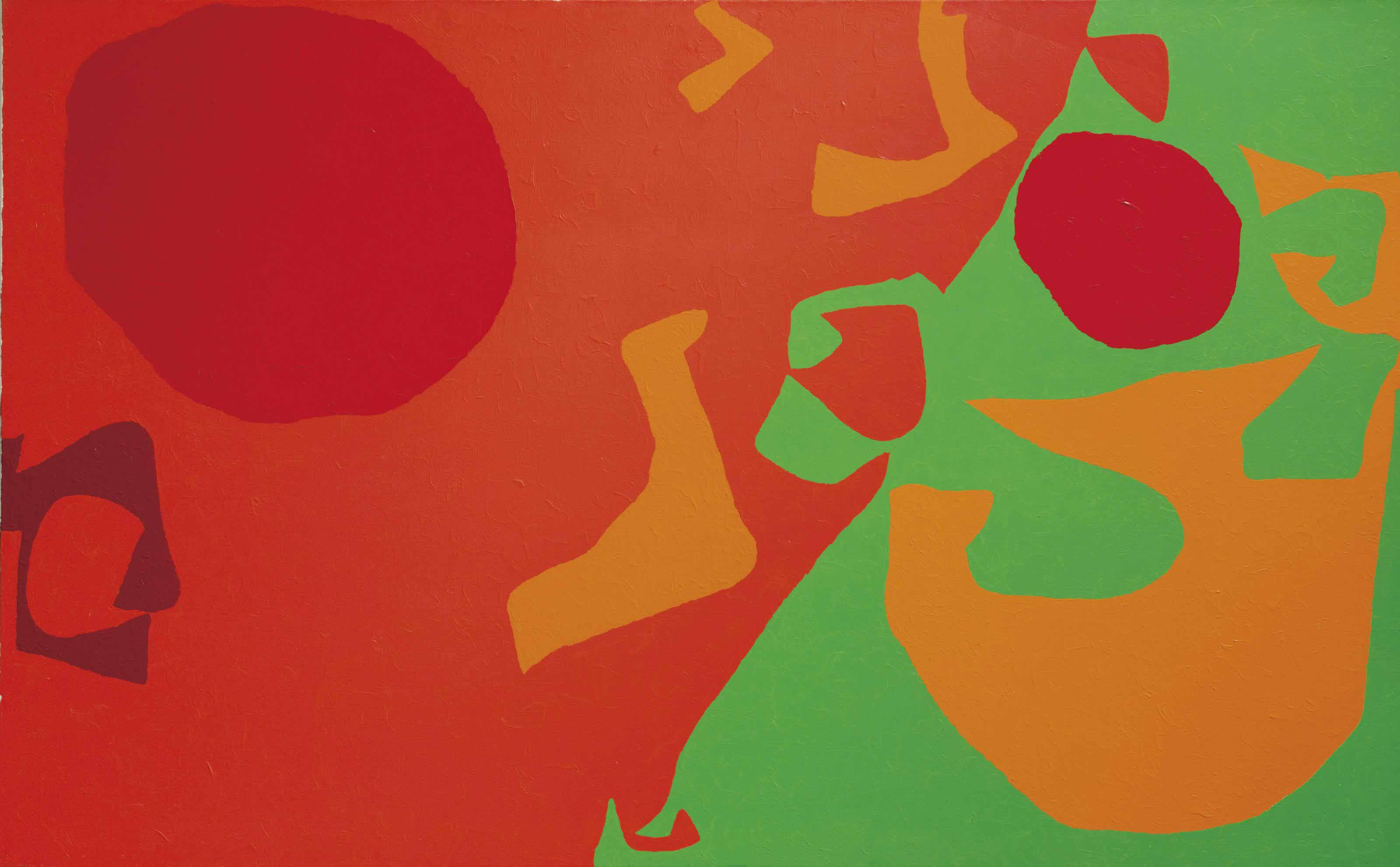 Small Diagonal with Scarlet, Emerald and Orange Fragments: 1971- January 1975
