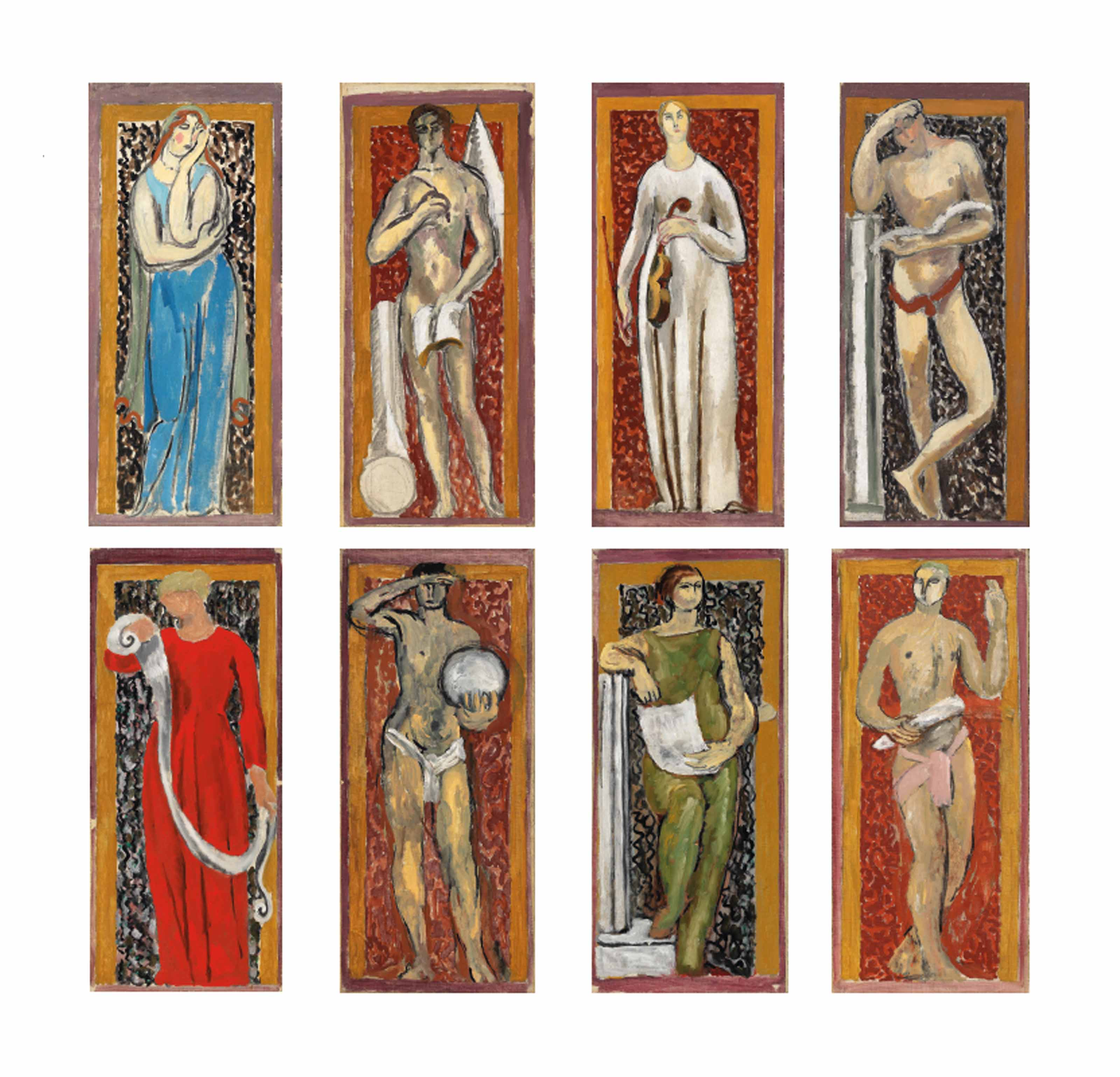 Eight Studies for Murals at John Maynard Keynes' rooms, Webb's Court, King's College, Cambridge; The Muses of Arts and Sciences