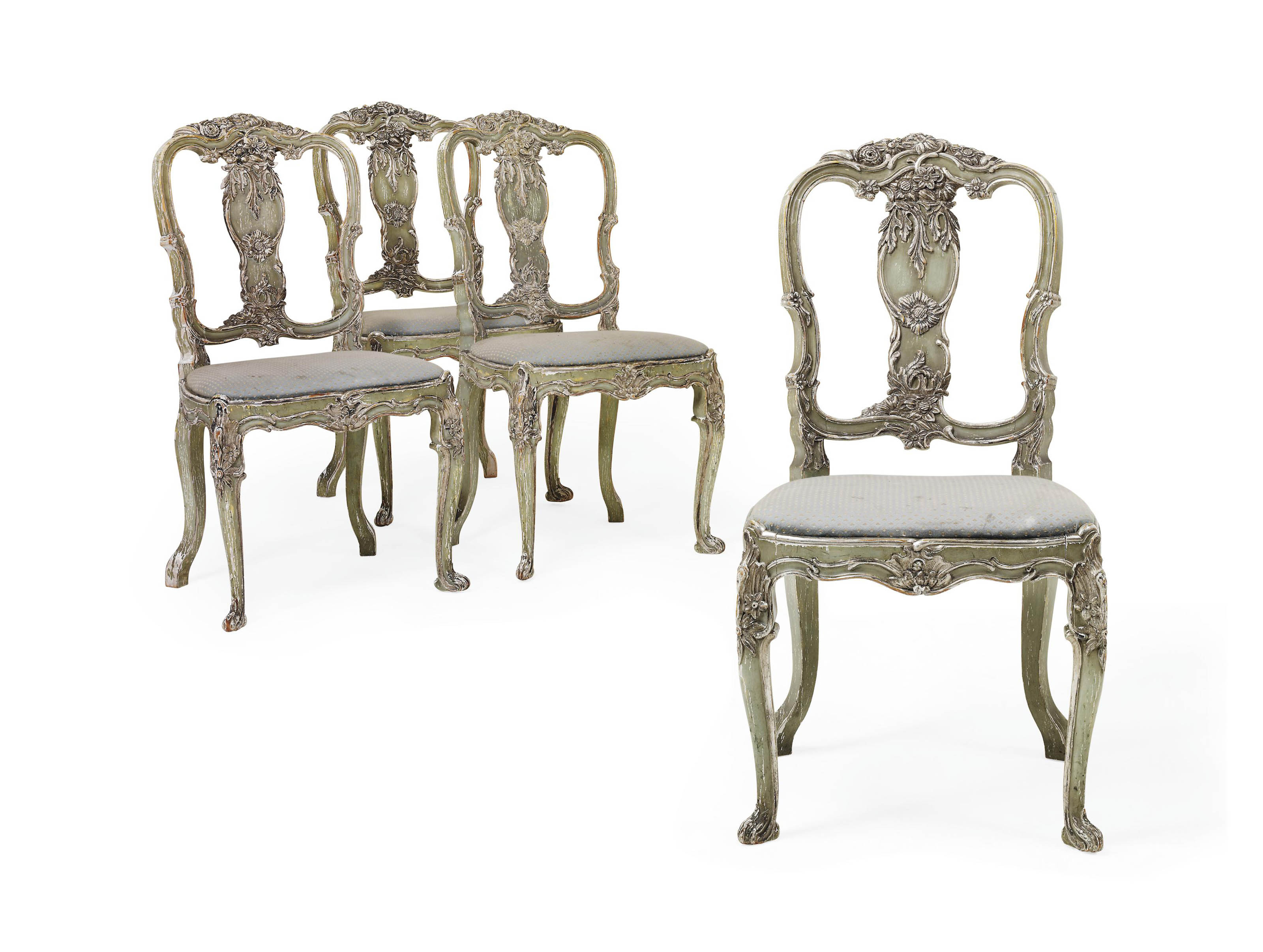 A SET OF FOUR AQUAMARINE-PAINTED AND SILVERED DINING CHAIRS