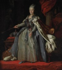 Portrait of Catherine the Great, Empress of Russia (1729-1796), full-length, in robes of state, standing before a draped column