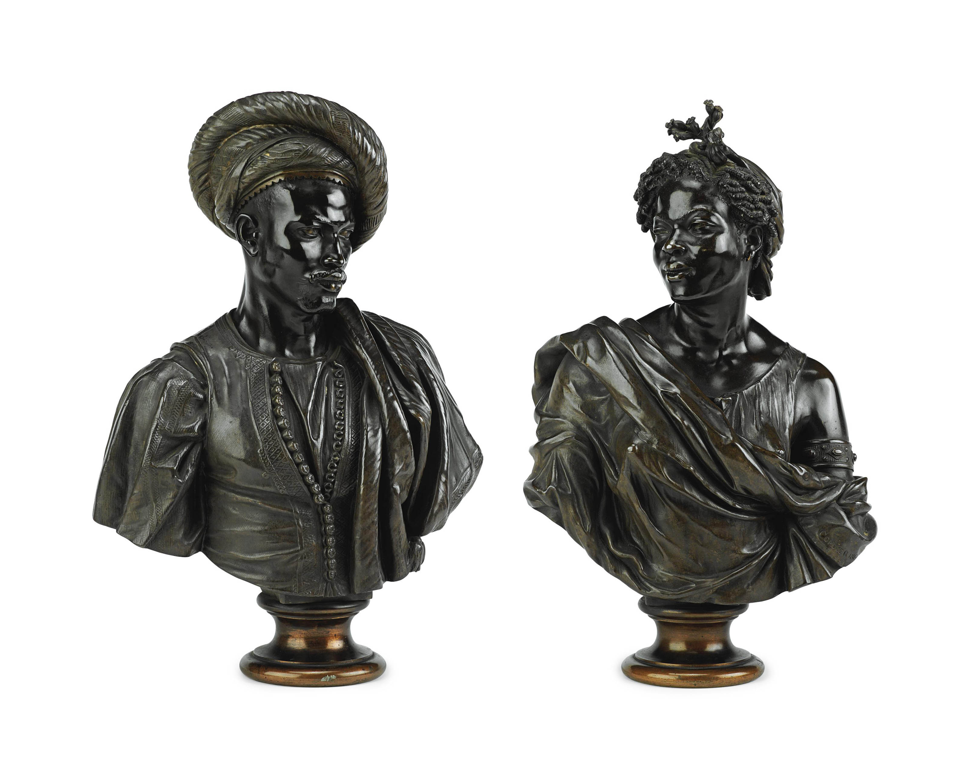 A PAIR OF FRENCH BRONZE BUSTS OF 'CAPRESSE DES COLONIES' AND 'NEGRE DU SOUDAN'