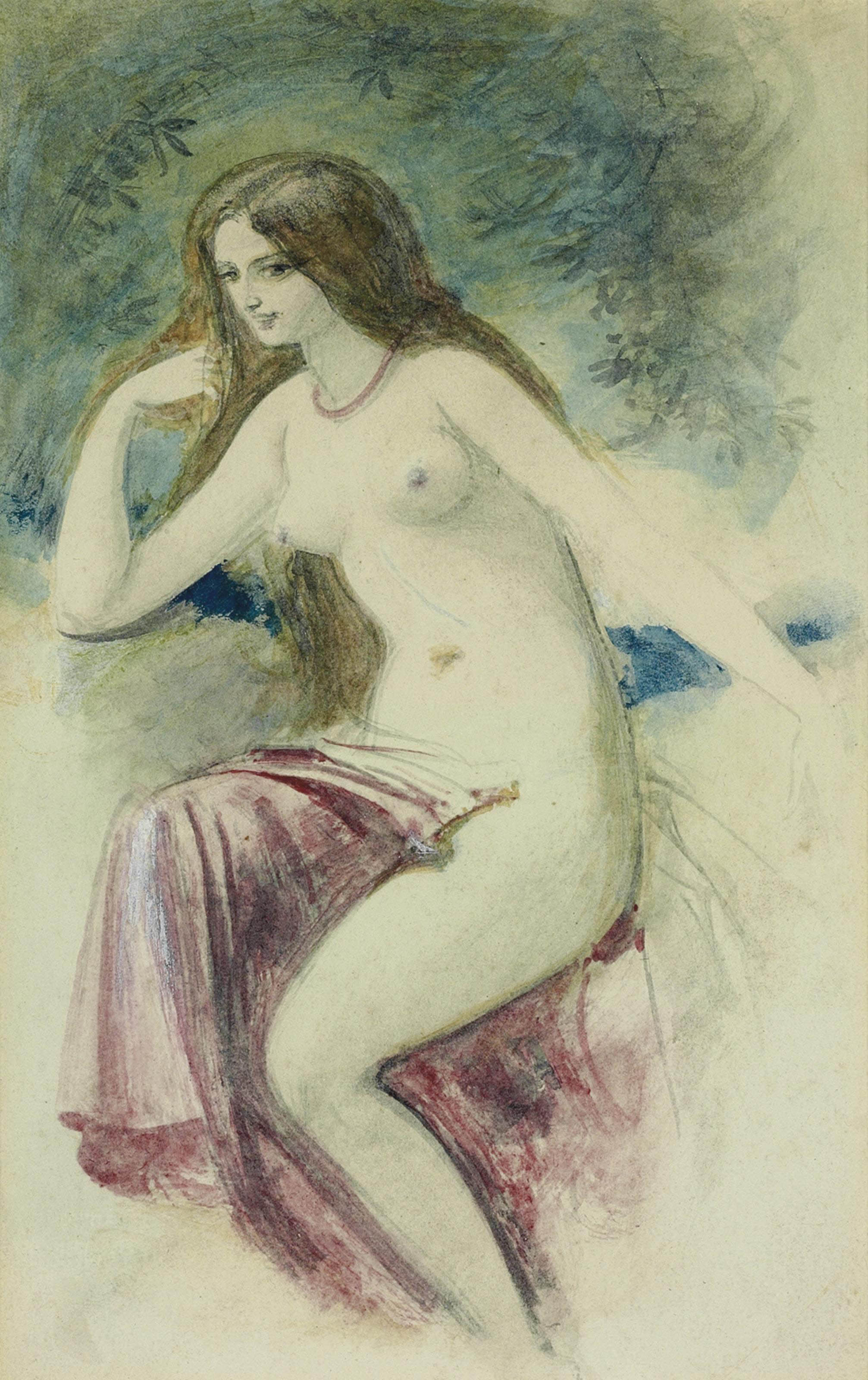 Study of a young lady, seated, full-length, wearing a rose-coloured dress; and Study of a female nude
