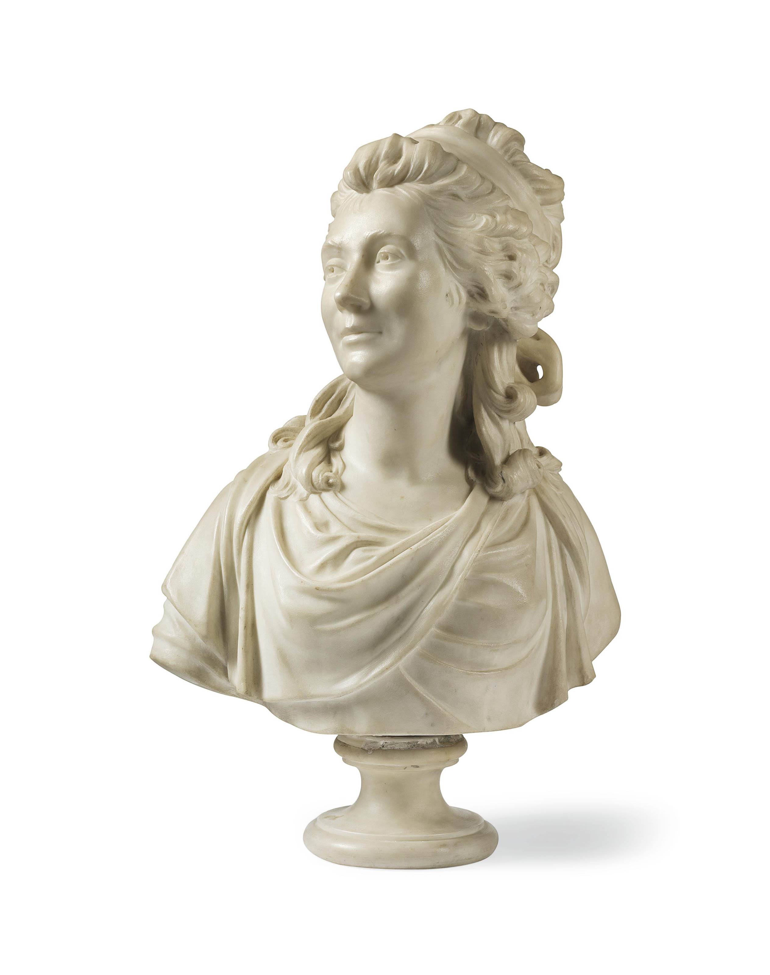 A WHITE MARBLE BUST OF THE COMTESSE DE SABRAN