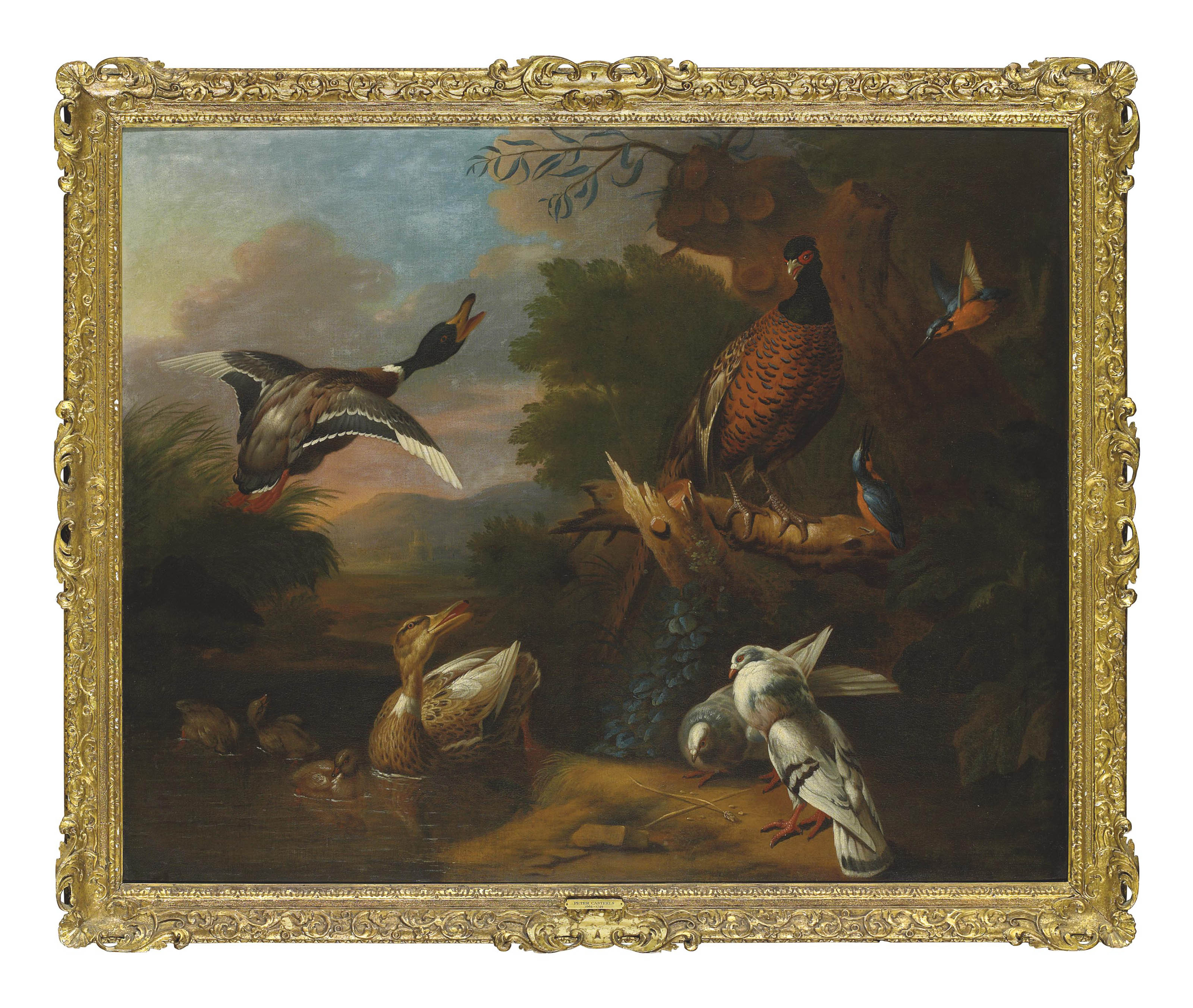 A pheasant, pigeons, ducklings, and kingfishers with a mallard taking flight at a wooded pool, a landscape beyond
