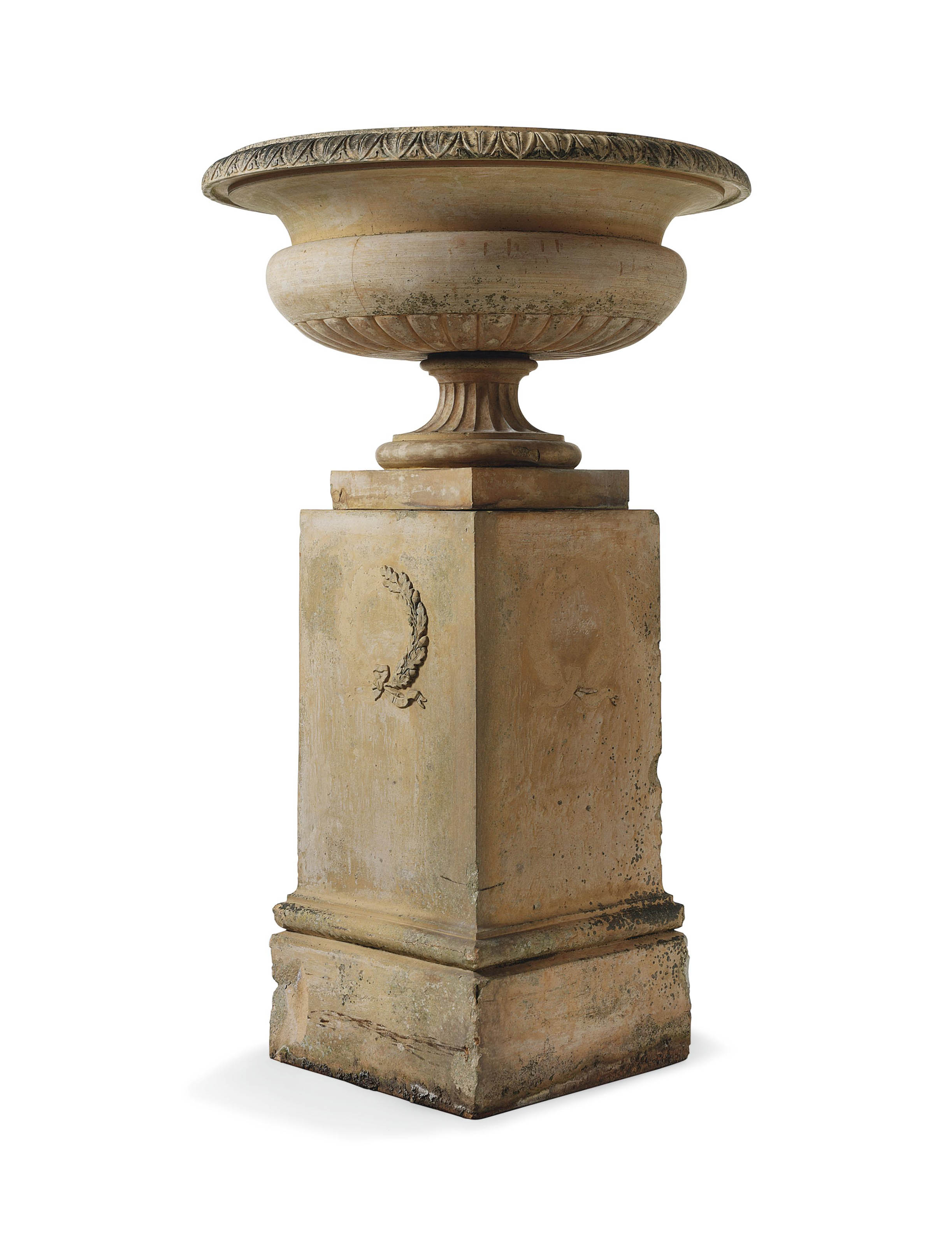 A VICTORIAN TERRACOTTA URN ON PEDESTAL