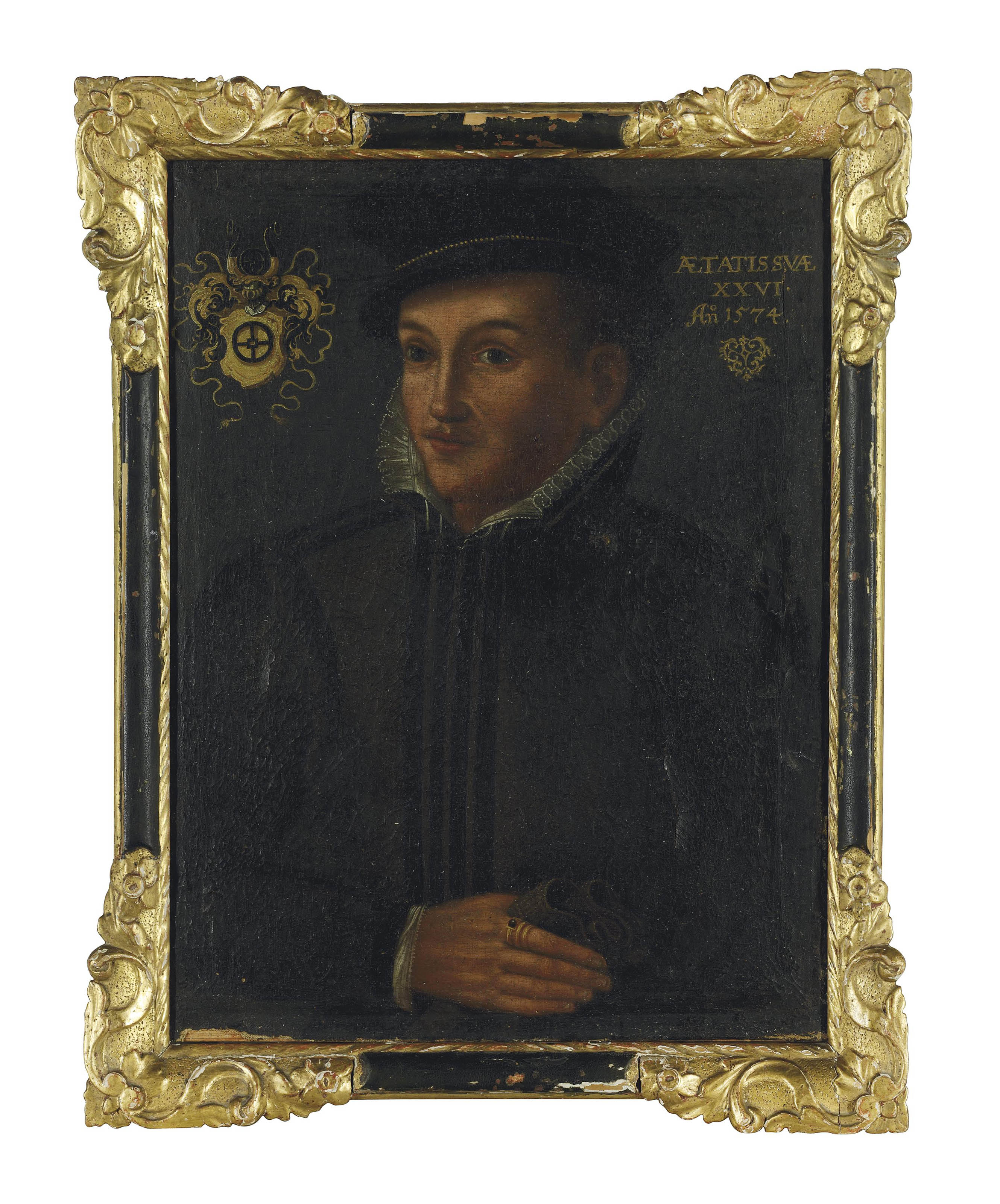 Portrait of a gentleman, possibly Caspar Müller (b. 1548), aged 26, half-length, in a dark doublet and hat and a lace collar, holding a glove in his right hand