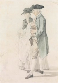 Portrait study of George Alexander Stevens (1710-80) and Mrs Paul Sandby (1736-1797)