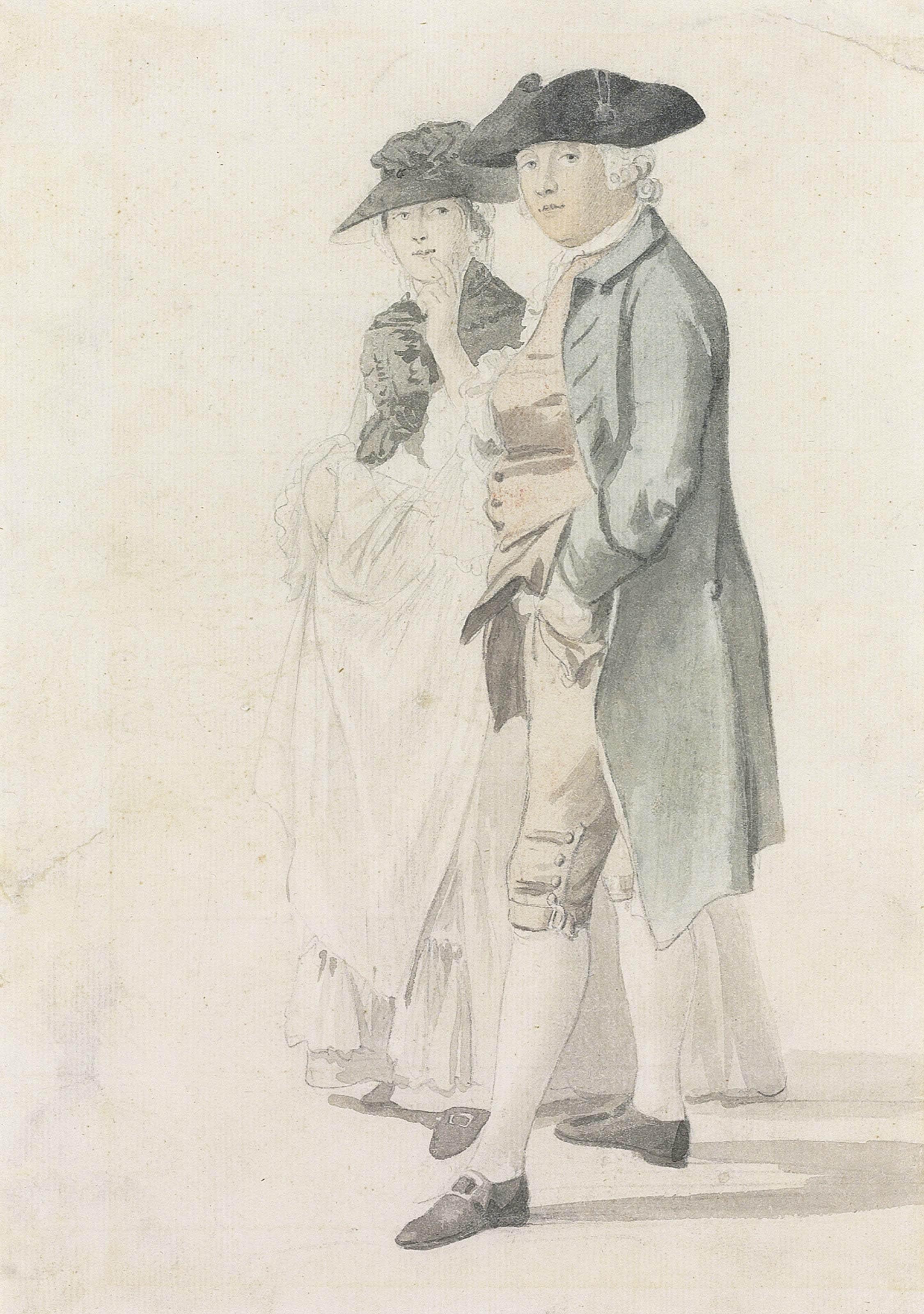 Portrait study of George Alexander Stevens (1710-80) and Mrs Paul Sandby (1736-1797)
