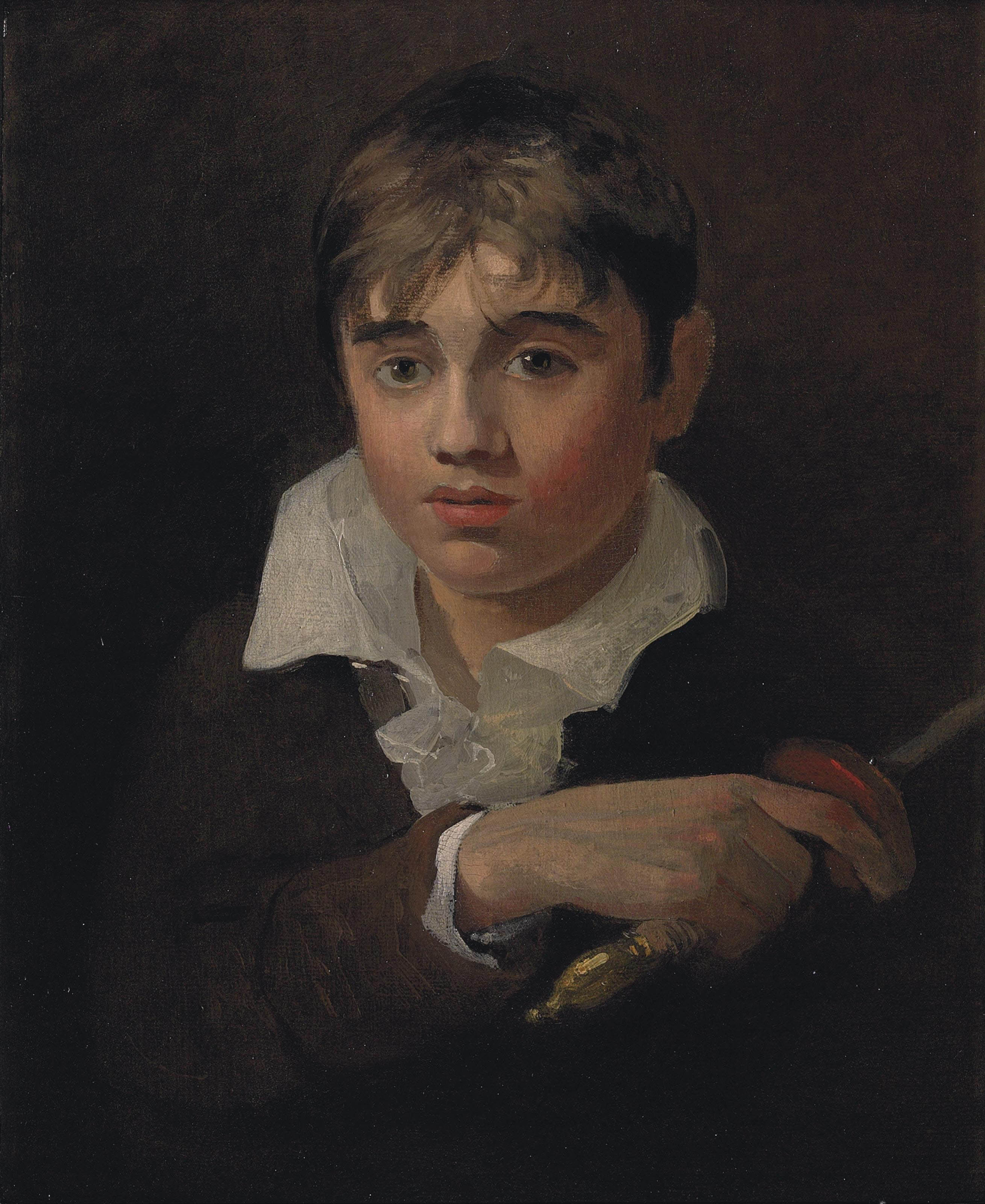 Portrait of a boy, believed to be the artist's youngest brother Henry, as 'Young Norval', bust-length, in a dark jacket and white shirt, holding a sword
