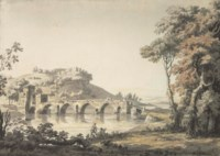 The Ponte Molle in the Campagna, Northern Rome (recto) and (verso)