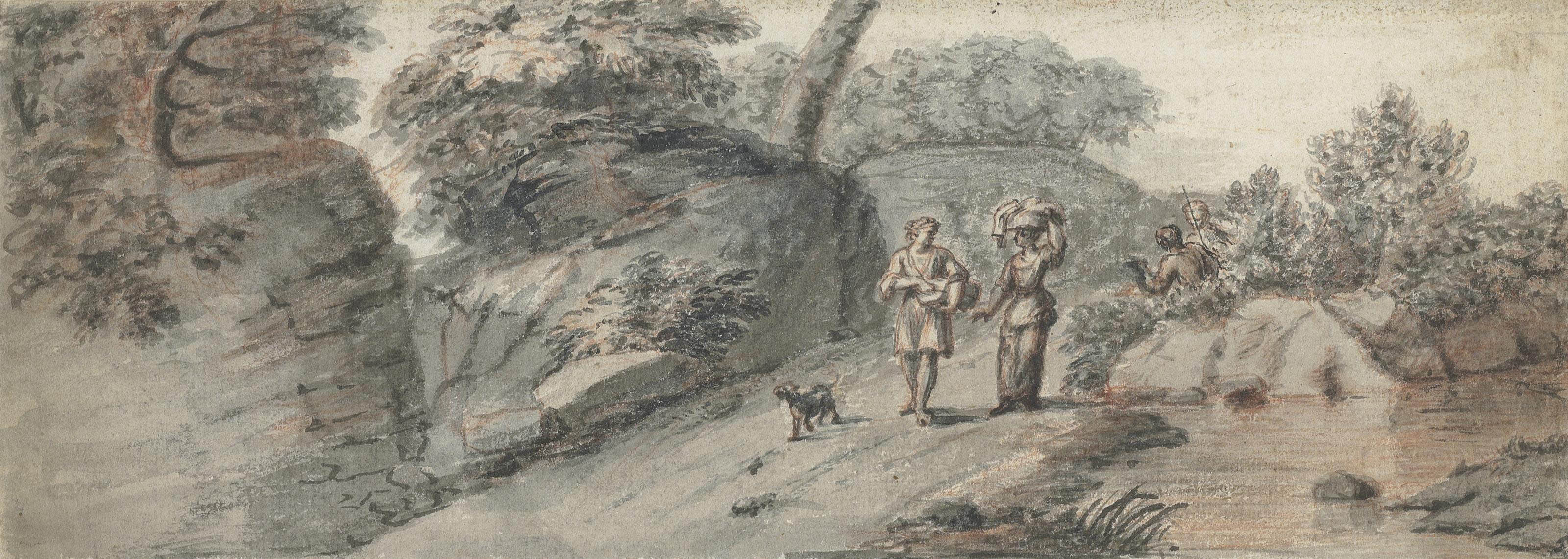 Figures on a wooded country road