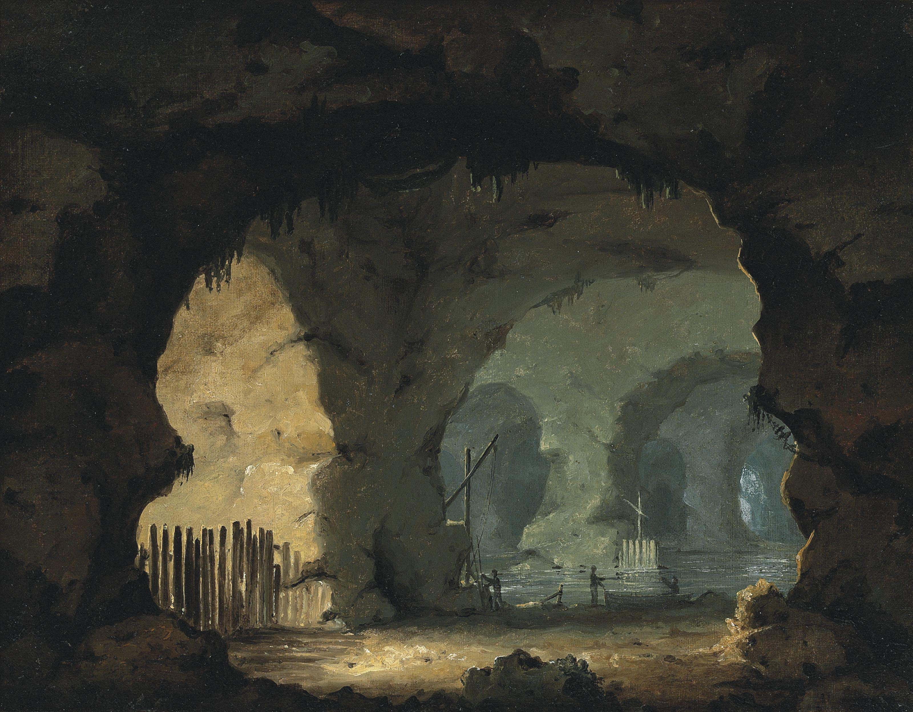 A sea cave interior with figures and boats