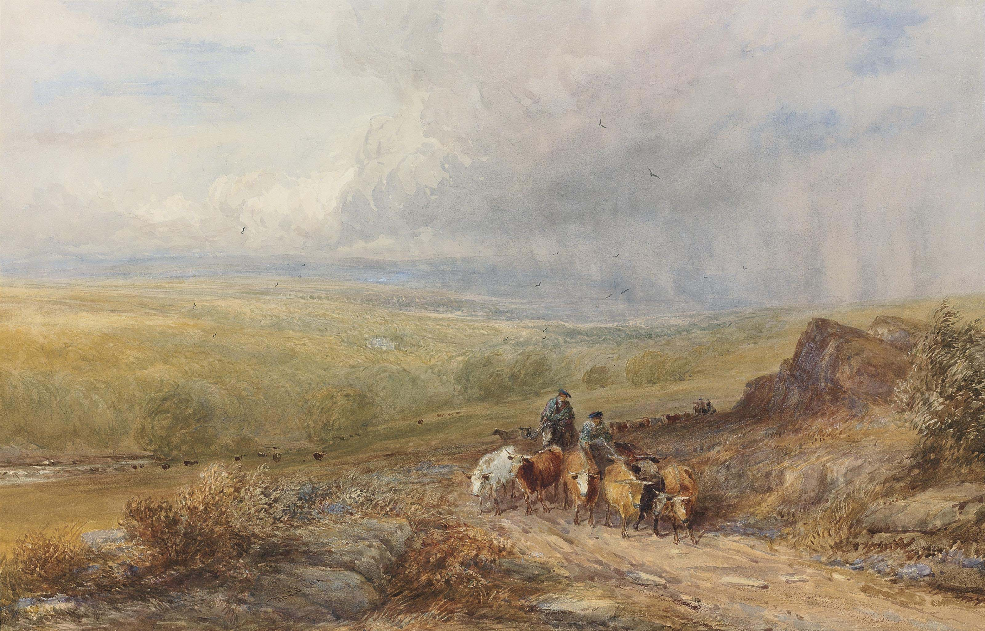 Drovers near Barden Castle on the Wharfe, Yorkshire