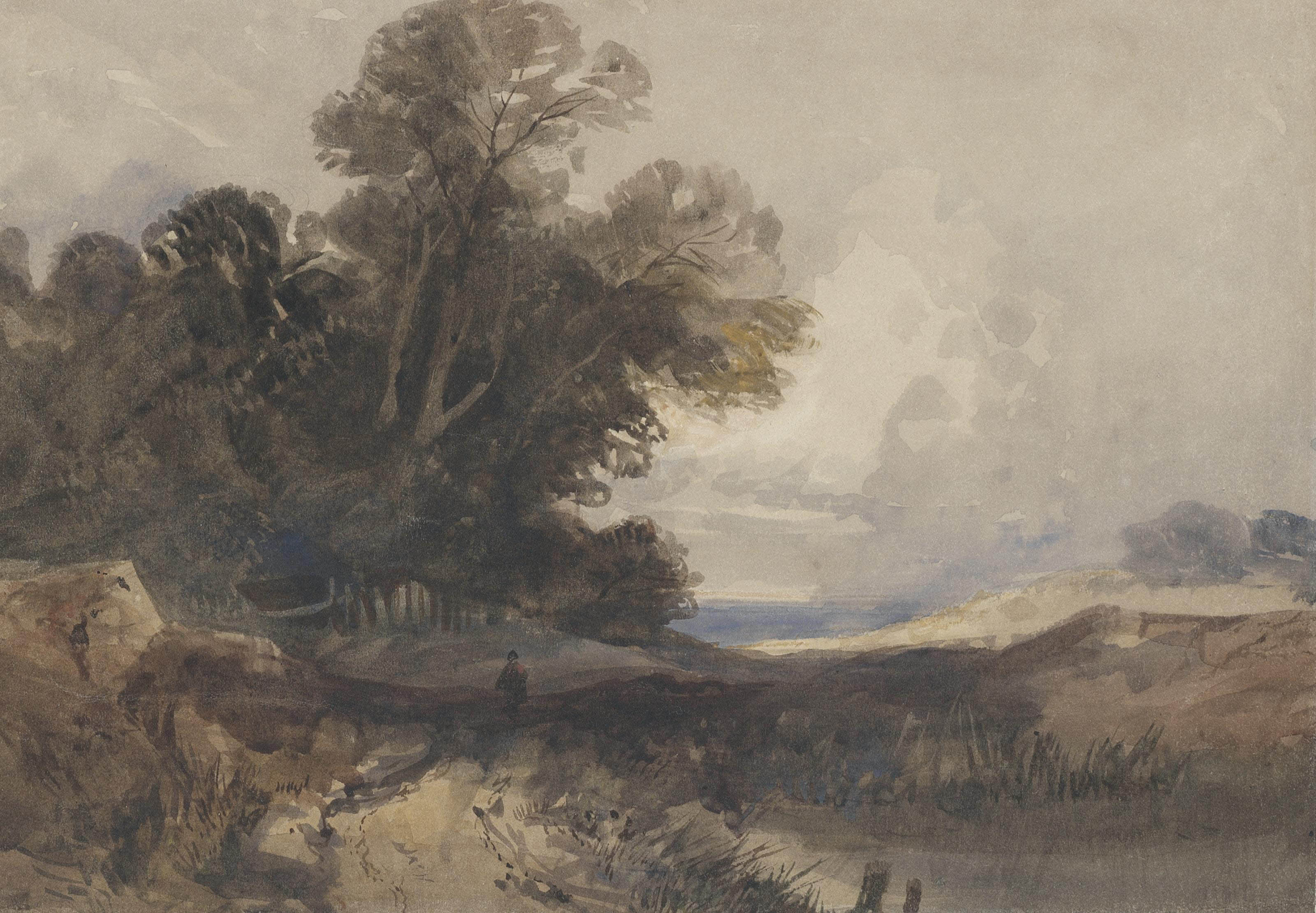 A traveller in an extensive wooded landscape