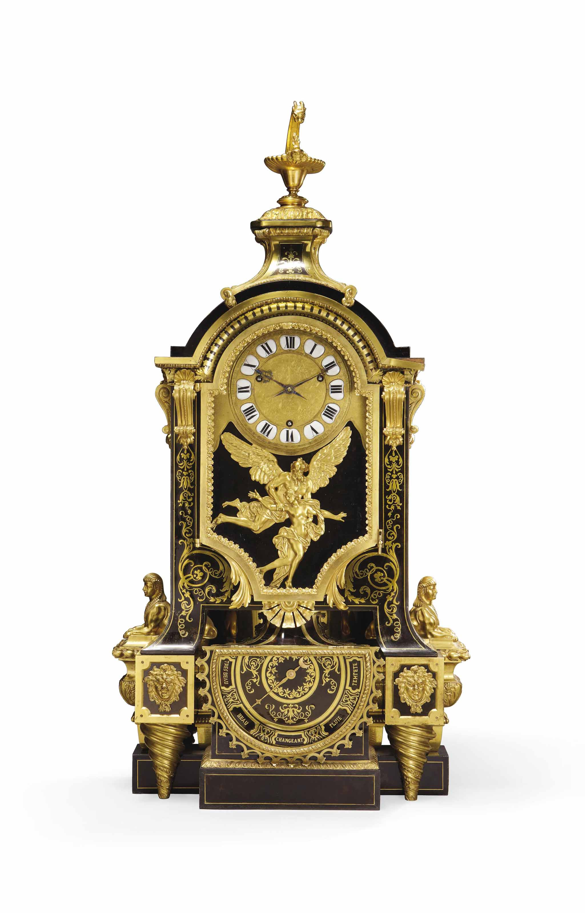 A LATE LOUIS XVI ORMOLU-MOUNTED BRASS AND TORTOISESHELL-INLAID BOULLE MARQUETRY AND EBONY MANTEL CLOCK