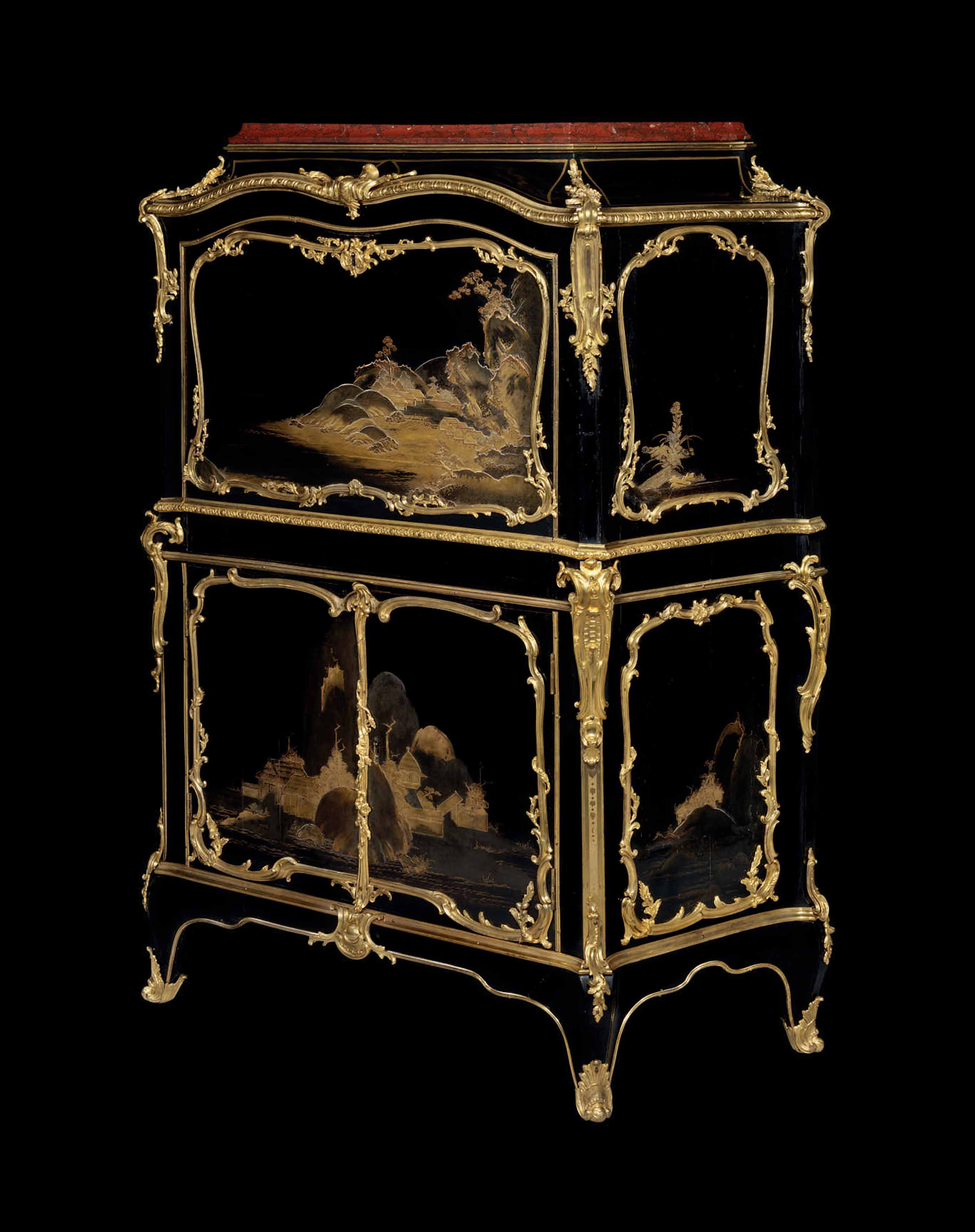 AN IMPORTANT LOUIS XV ORMOLU-MOUNTED JAPANESE LACQUER AND VERNIS MARTIN SECRETAIRE A ABATTANT