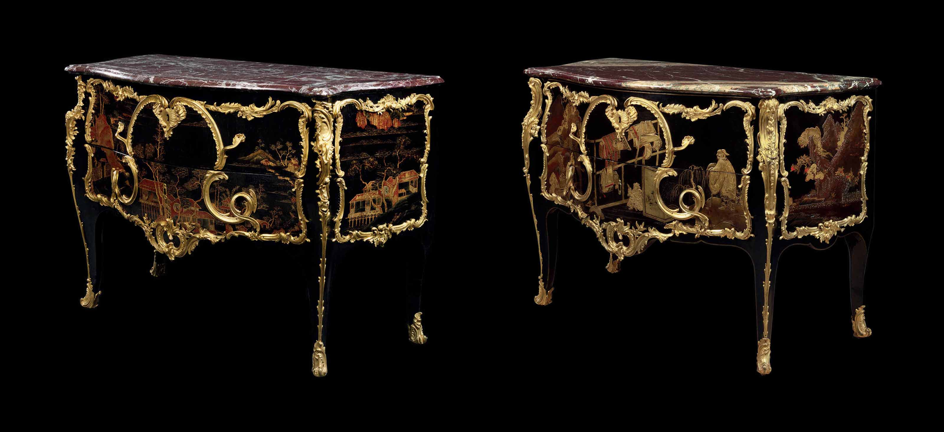 A NEAR PAIR OF LOUIS XV ORMOLU-MOUNTED JAPANESE AND CHINESE LACQUER COMMODES