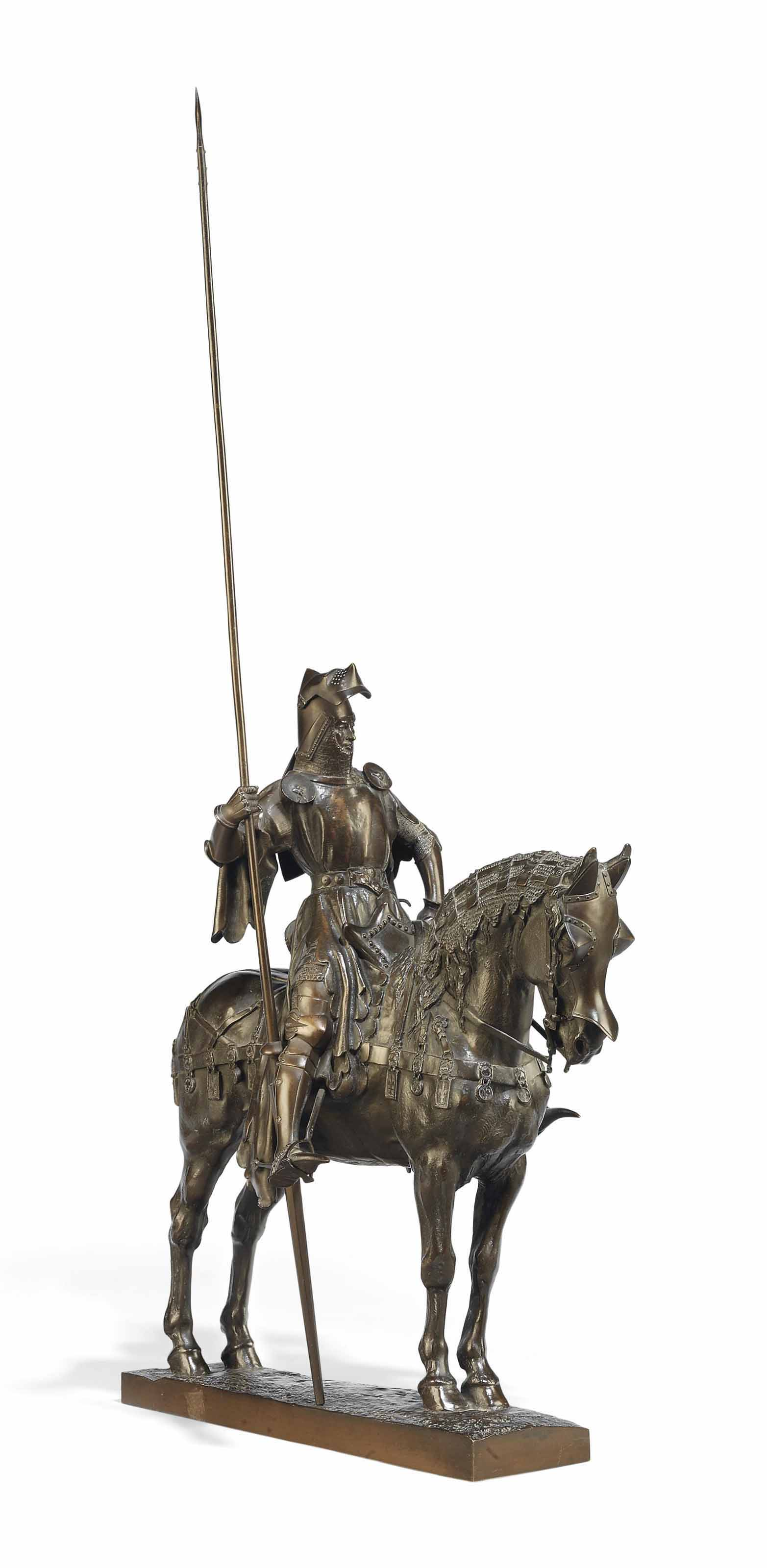 A FRENCH BRONZE GROUP OF LOUIS D'ORLEANS ON HORSEBACK