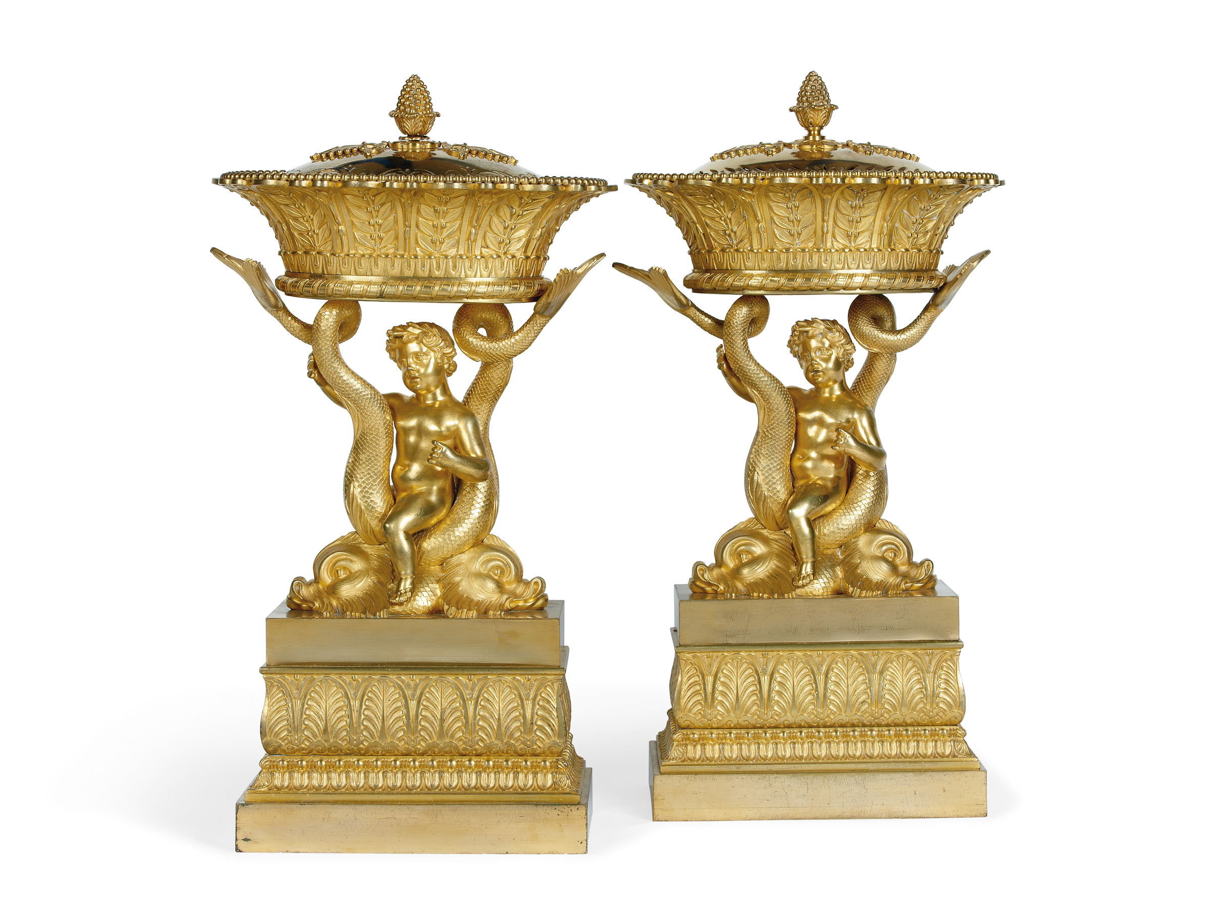 A PAIR OF EMPIRE ORMOLU CENTRE PIECES