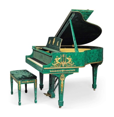 A gilt metal mounted and malachite veneered baby grand for Baby grand piano height