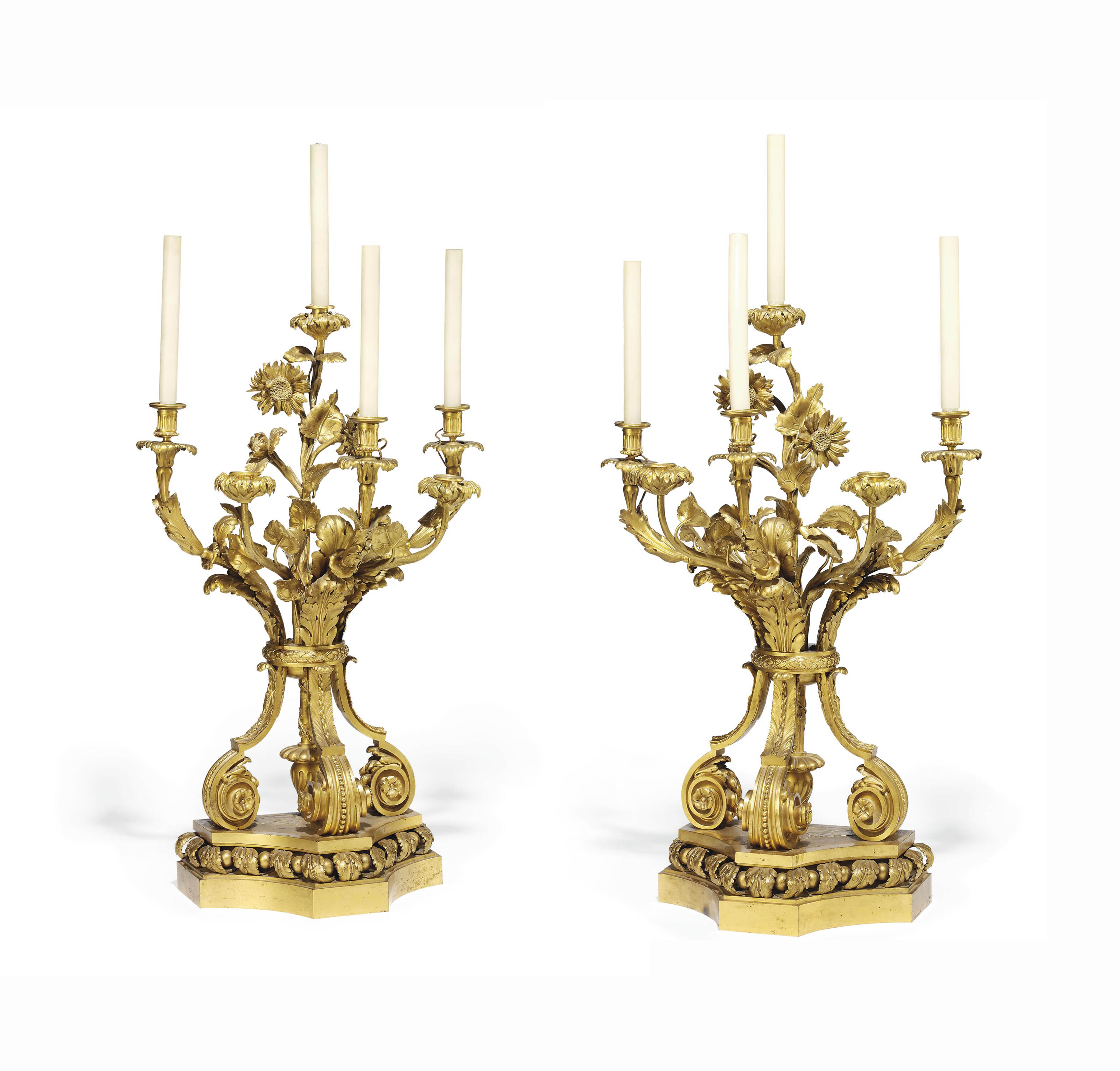 A PAIR OF FRENCH ORMOLU SIX-LIGHT CANDELABRA