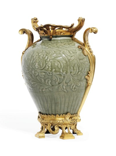 A French Ormolu Mounted Chinese Longquan Celadon Vase Ming Dynasty 1368 1644 The Mounts By