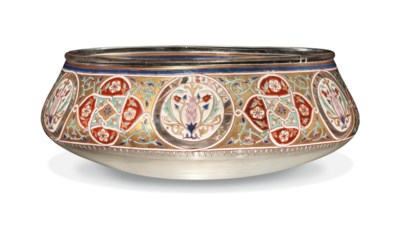 A BROCARD BOWL ENAMELLED AND G