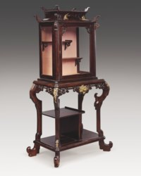 A FRENCH 'JAPONISME' ORMOLU-MOUNTED MAHOGANY VITRINE-CABINET-ON-STAND