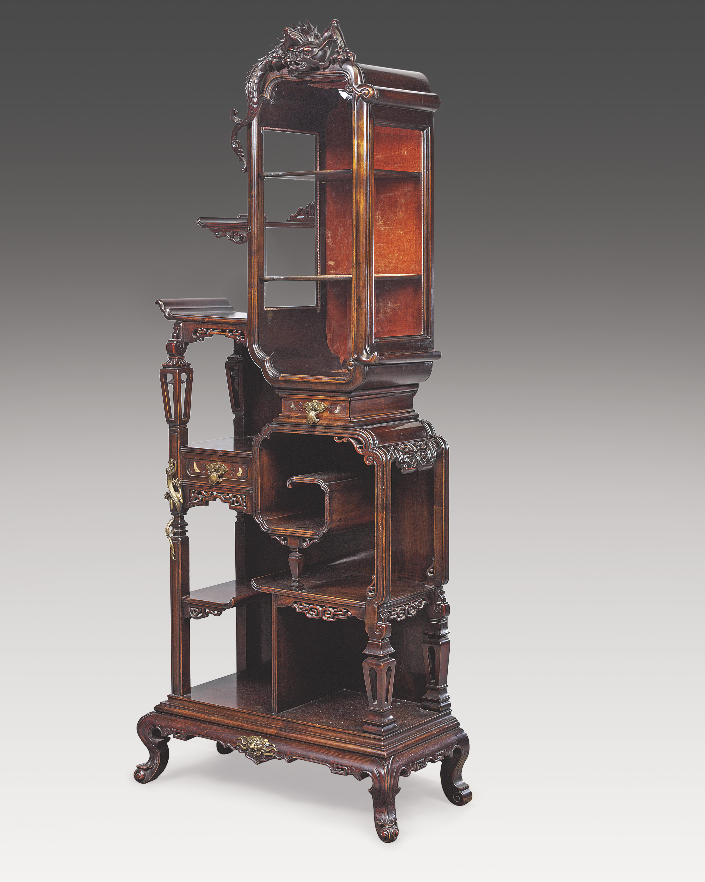 A FRENCH 'JAPONISME' LACQUERED-BRONZE-MOUNTED MAHOGANY VITRINE-CABINET