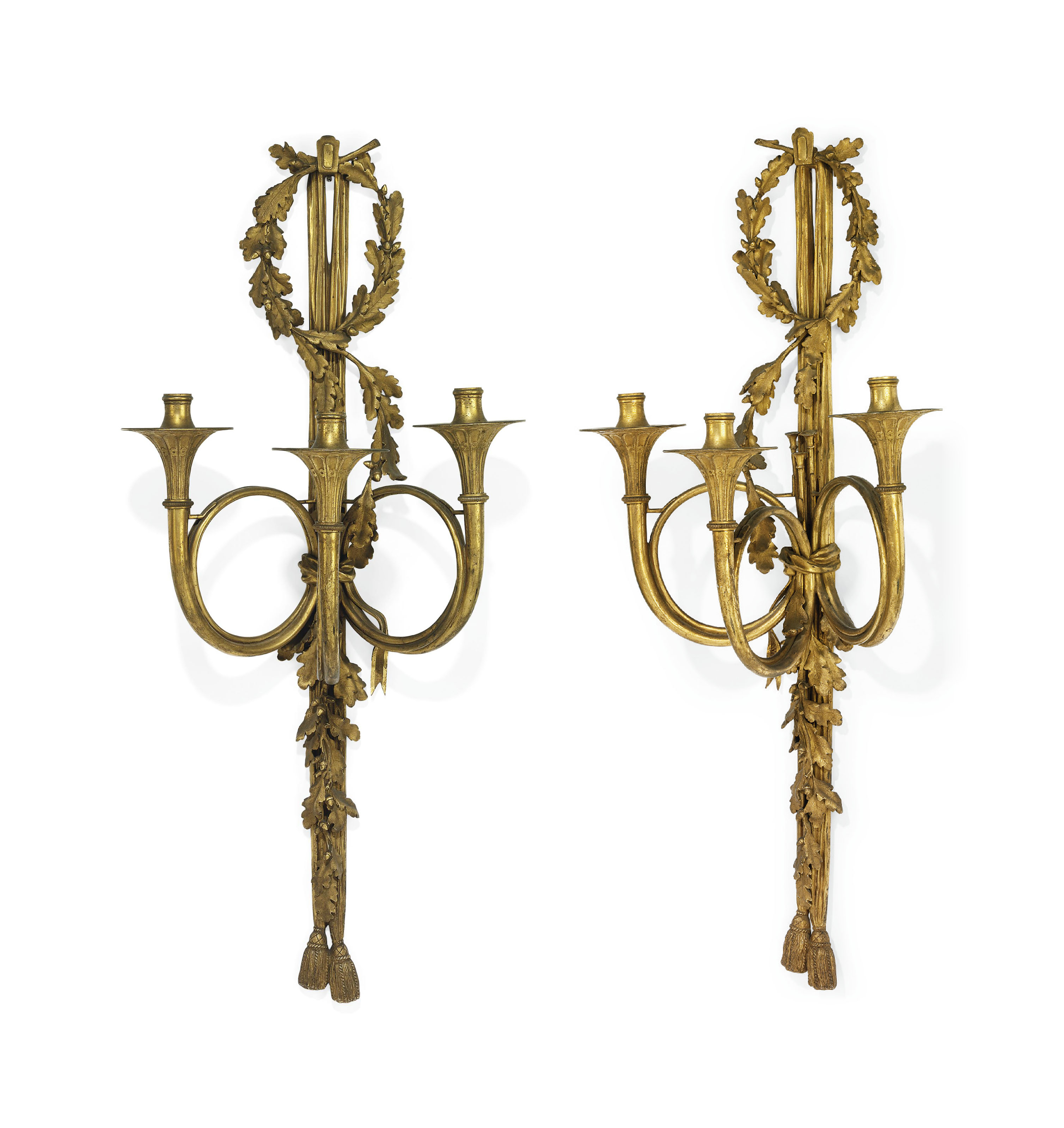 A PAIR OF FRENCH ORMOLU THREE-LIGHT WALL-APPLIQUES