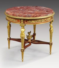A FRENCH ORMOLU-MOUNTED MAHOGANY CENTRE TABLE