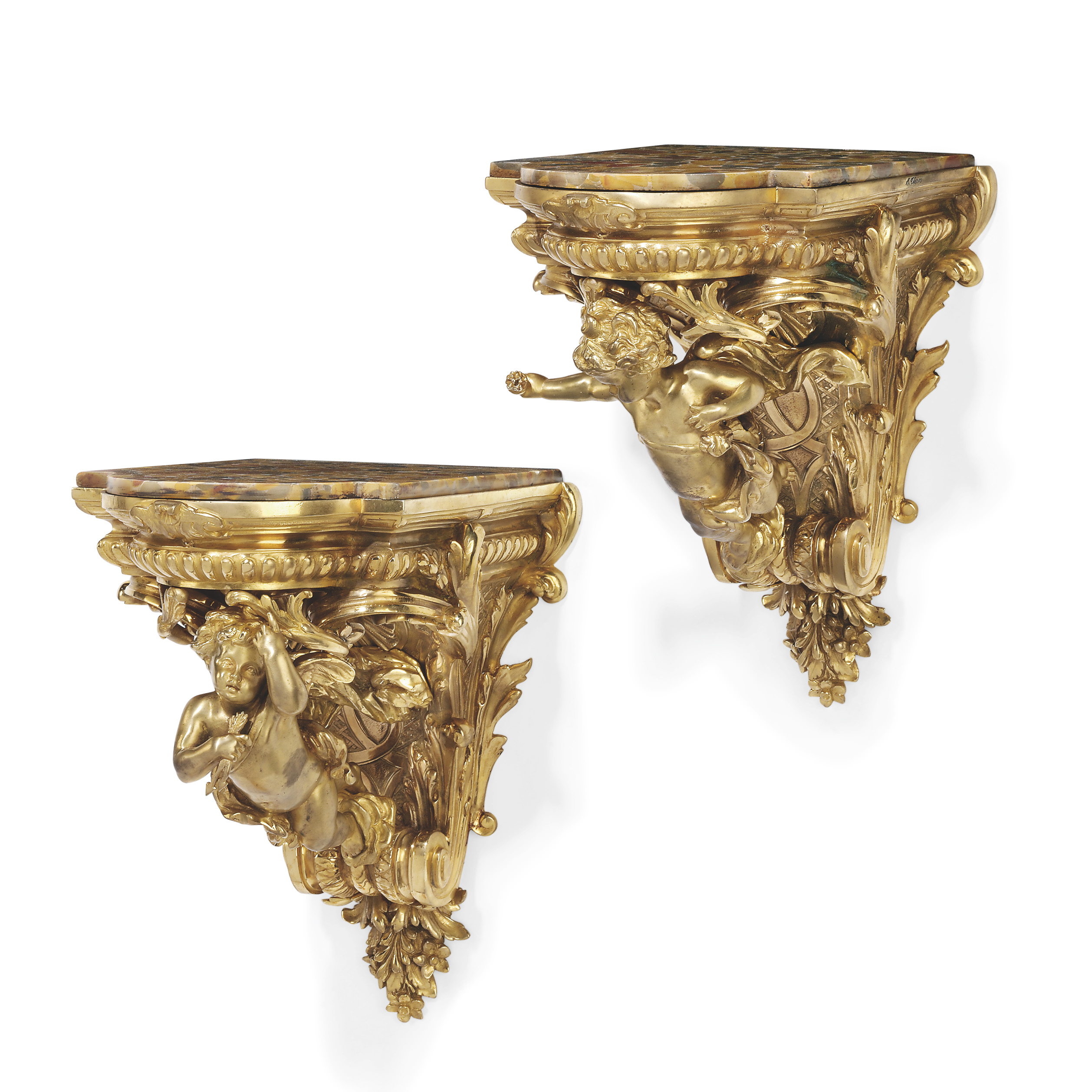 A PAIR OF FRENCH ORMOLU WALL-BRACKETS
