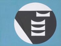 Composition dans un cercle blanc sur fond bleu