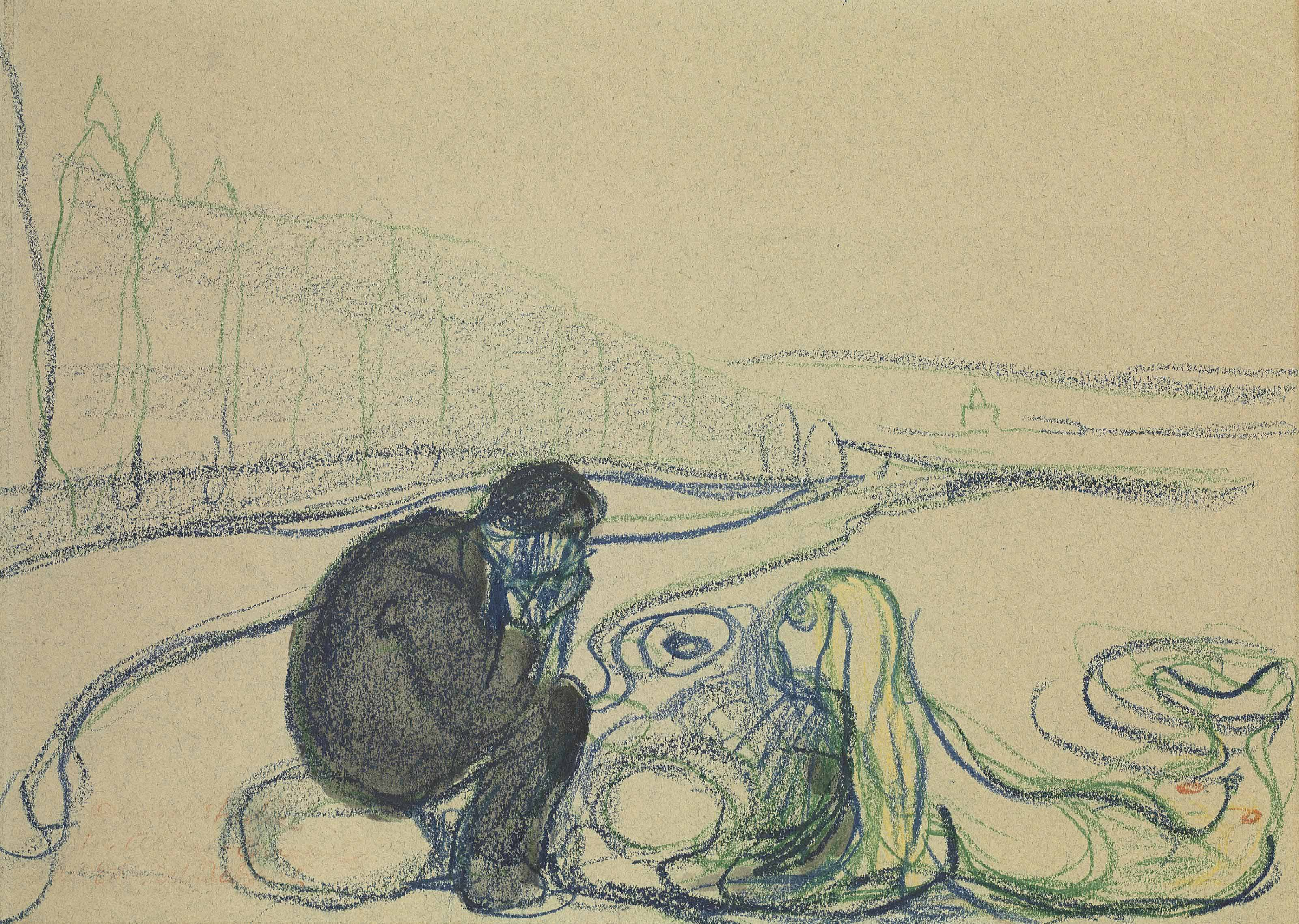 Melancholy Man and Mermaid (Encounter on the Beach)