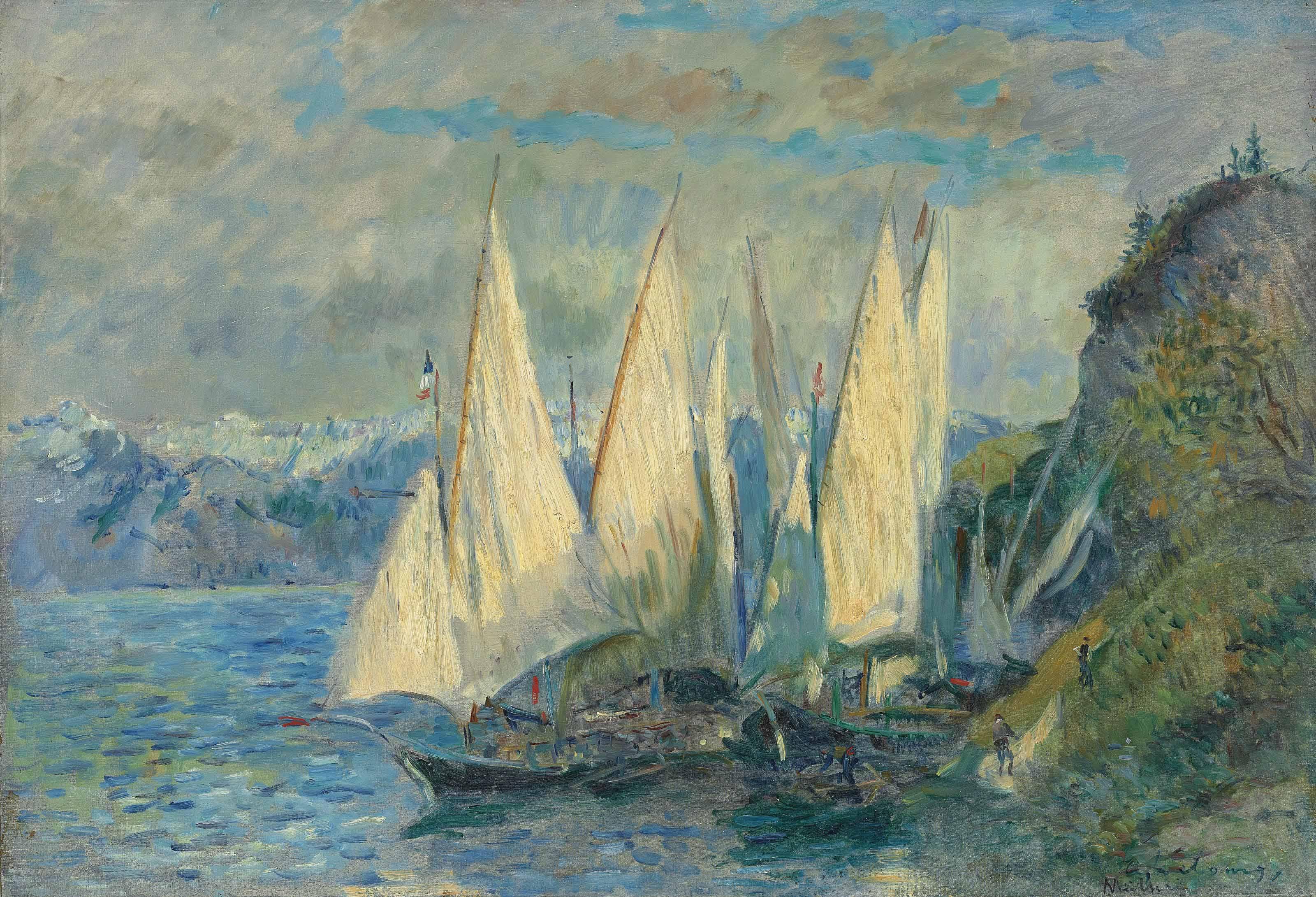 Barques aux grandes voiles sur le lac Léman à Meillerie en Haute-Savoie