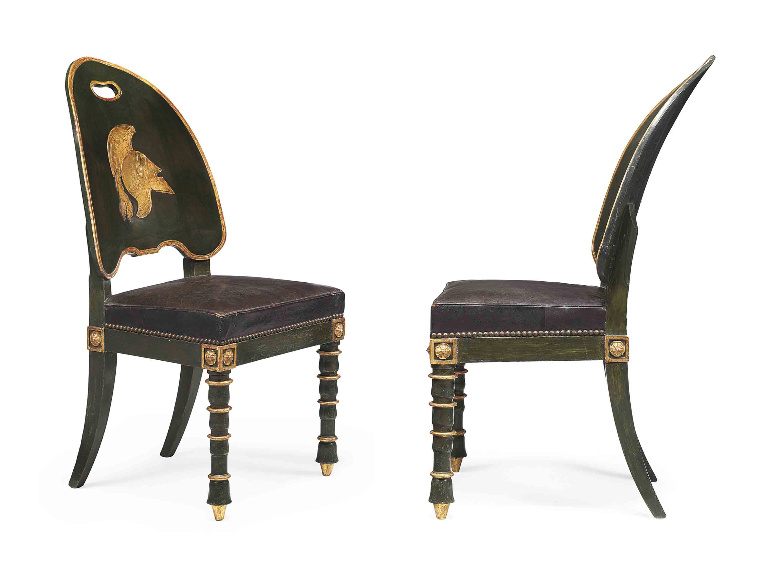 A pair of empire parcel gilt and green painted side chairs for Furniture 08054
