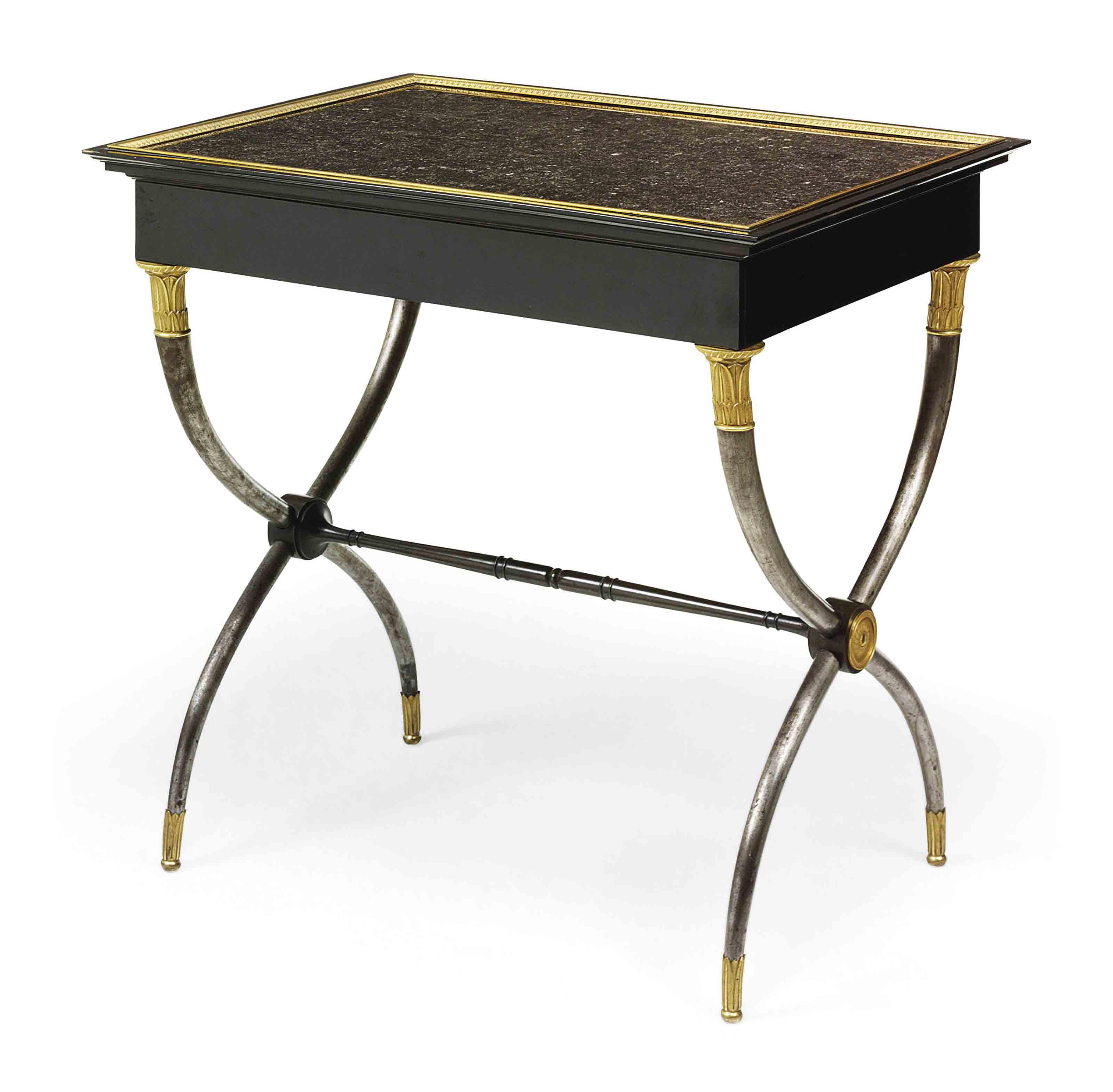 AN EMPIRE ORMOLU, STEEL AND EBONY CENTRE TABLE