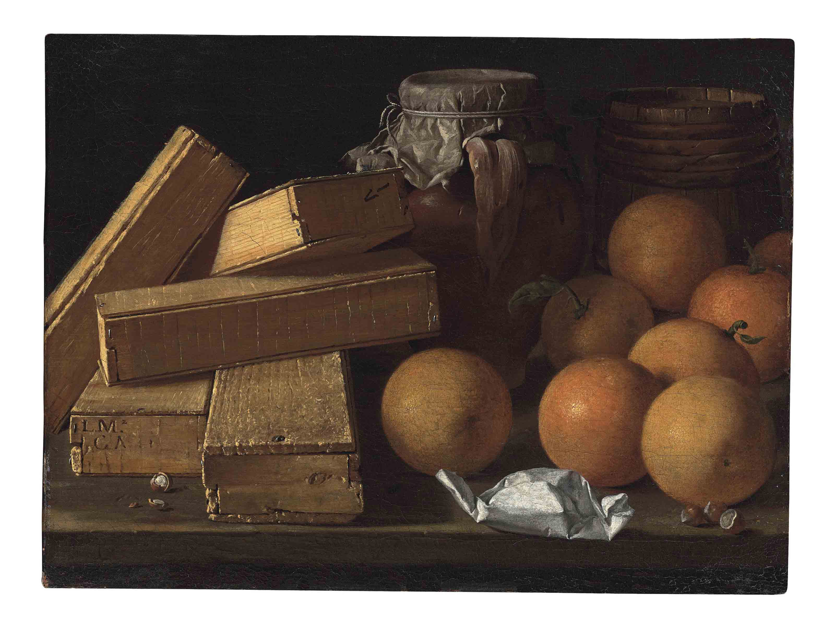 Oranges, nuts, spices, boxes of sweetmeats, a jug and a cask on a table