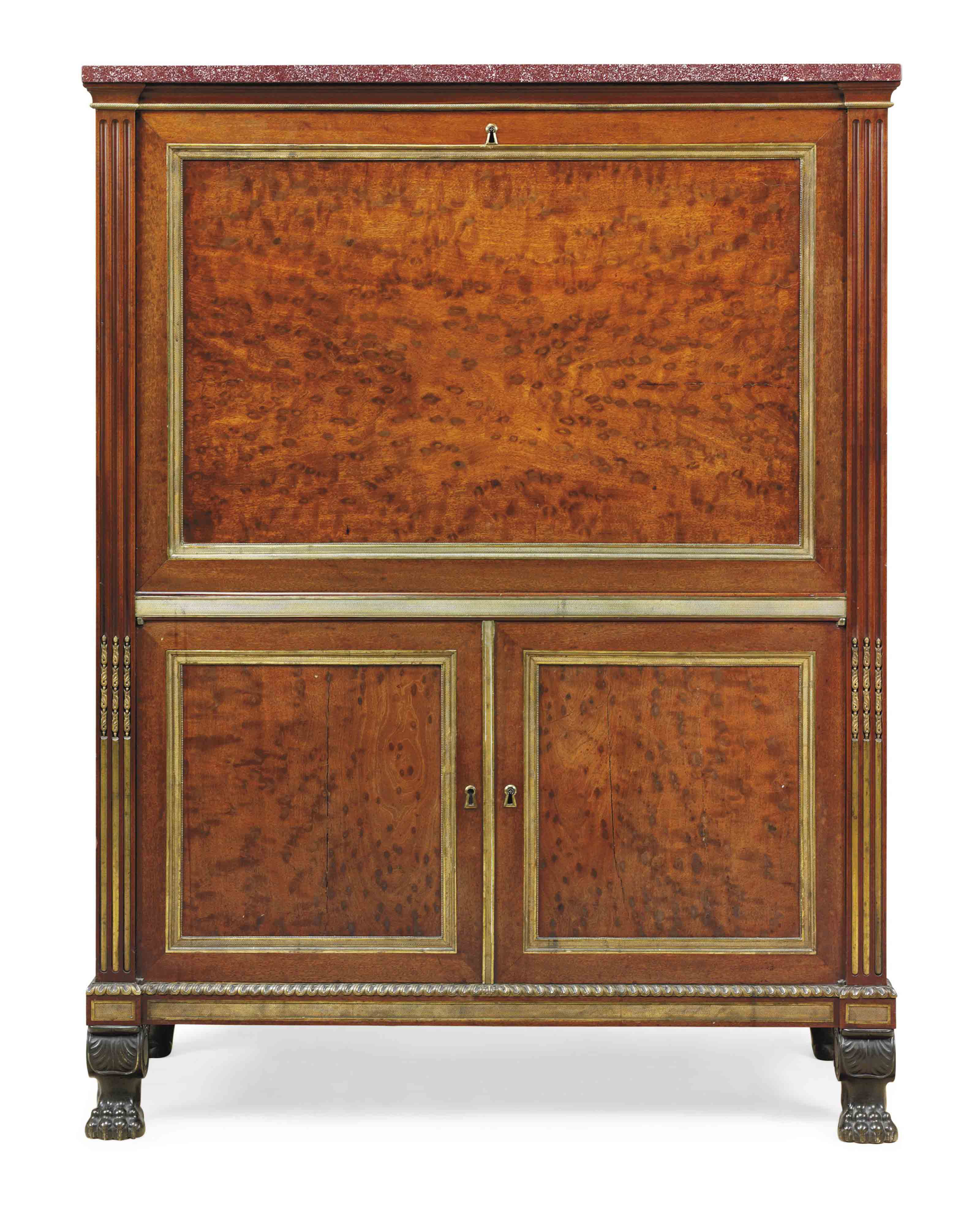 A DIRECTOIRE ORMOLU AND PATINATED BRONZE-MOUNTED ACAJOU MOUCHETE SECRETAIRE A ABATTANT